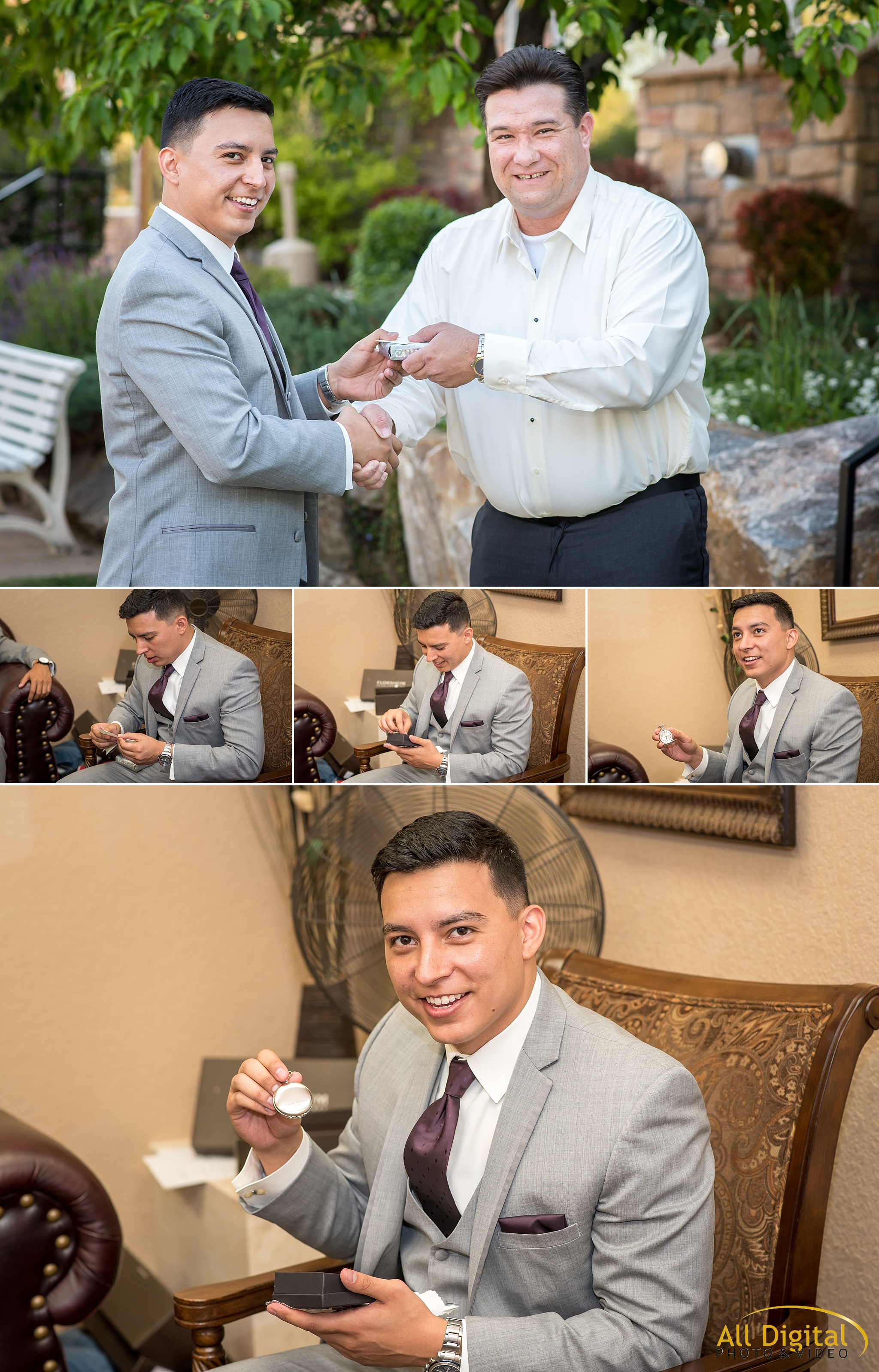 Groom receiving a gift from his bride before the ceremony at Stonebrook Manor.