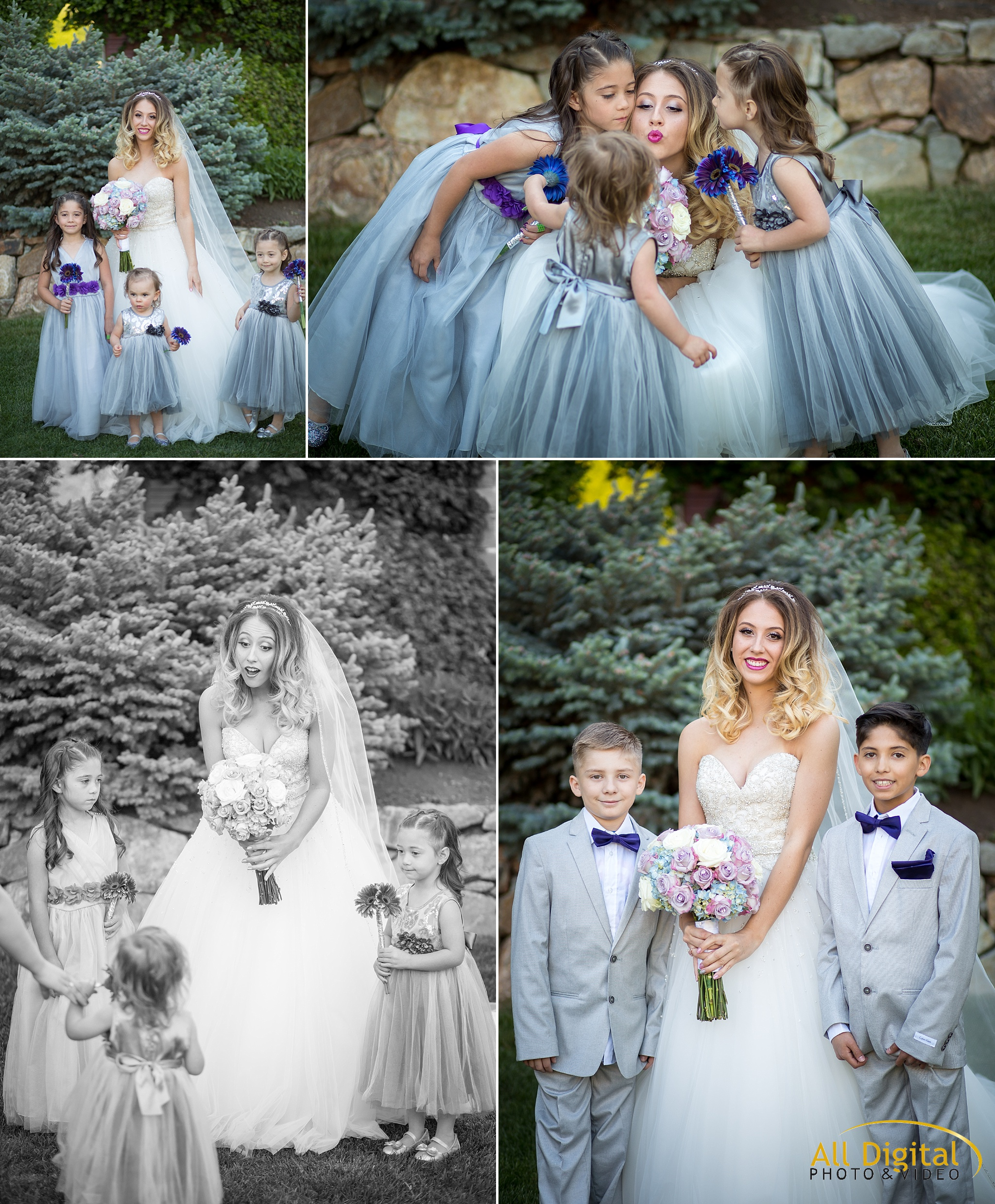 Bride, flower girls, and ring bearer portraits at Stonebrook Manor.