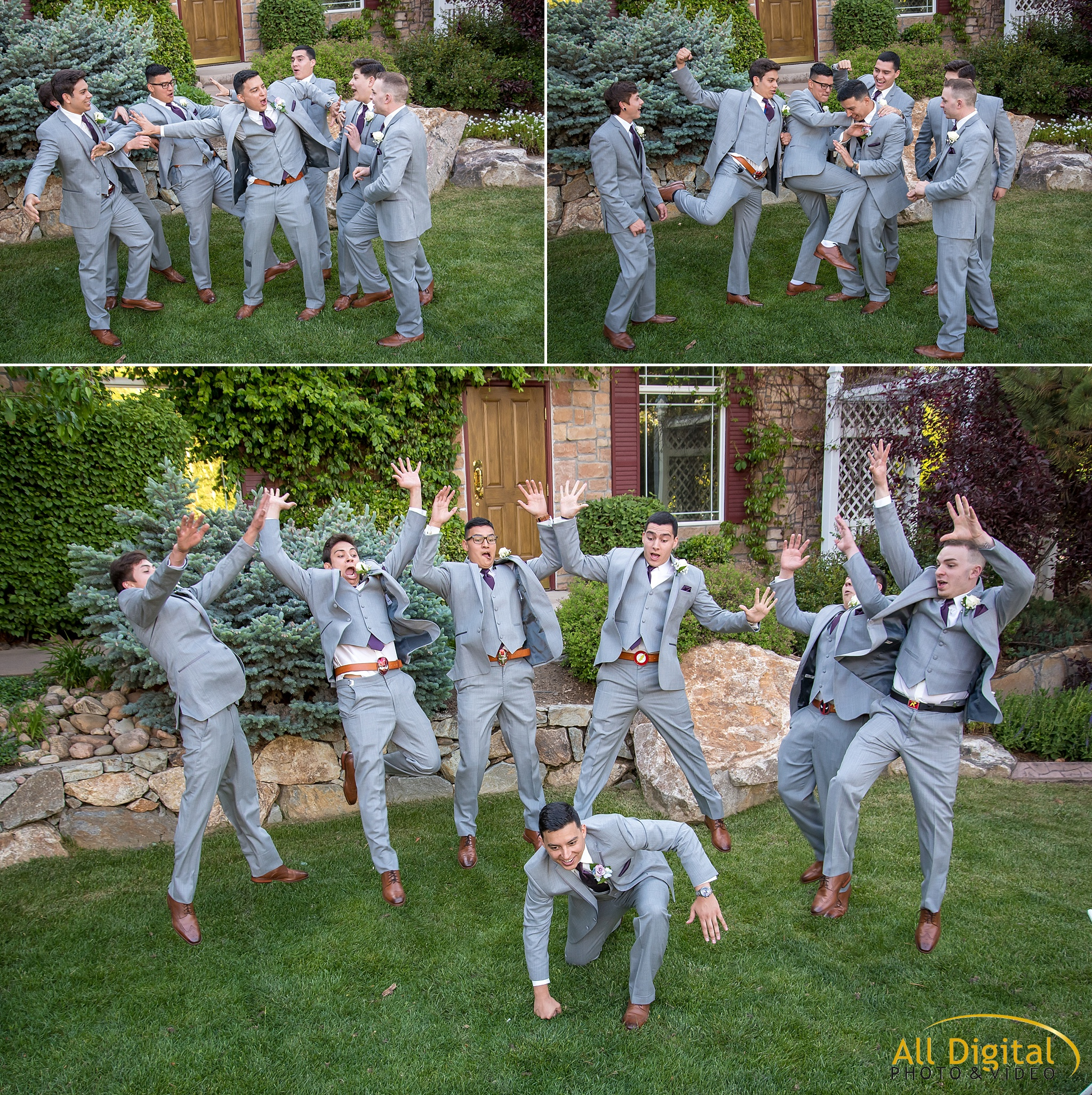 Groom and groomsmen showing off their super hero powers at Stonebrook Manor.