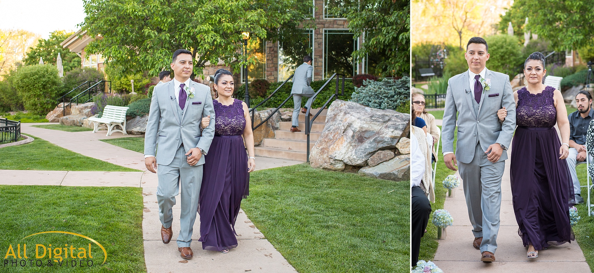 Groom walking his mother down the aisle at Stonebrook Manor.