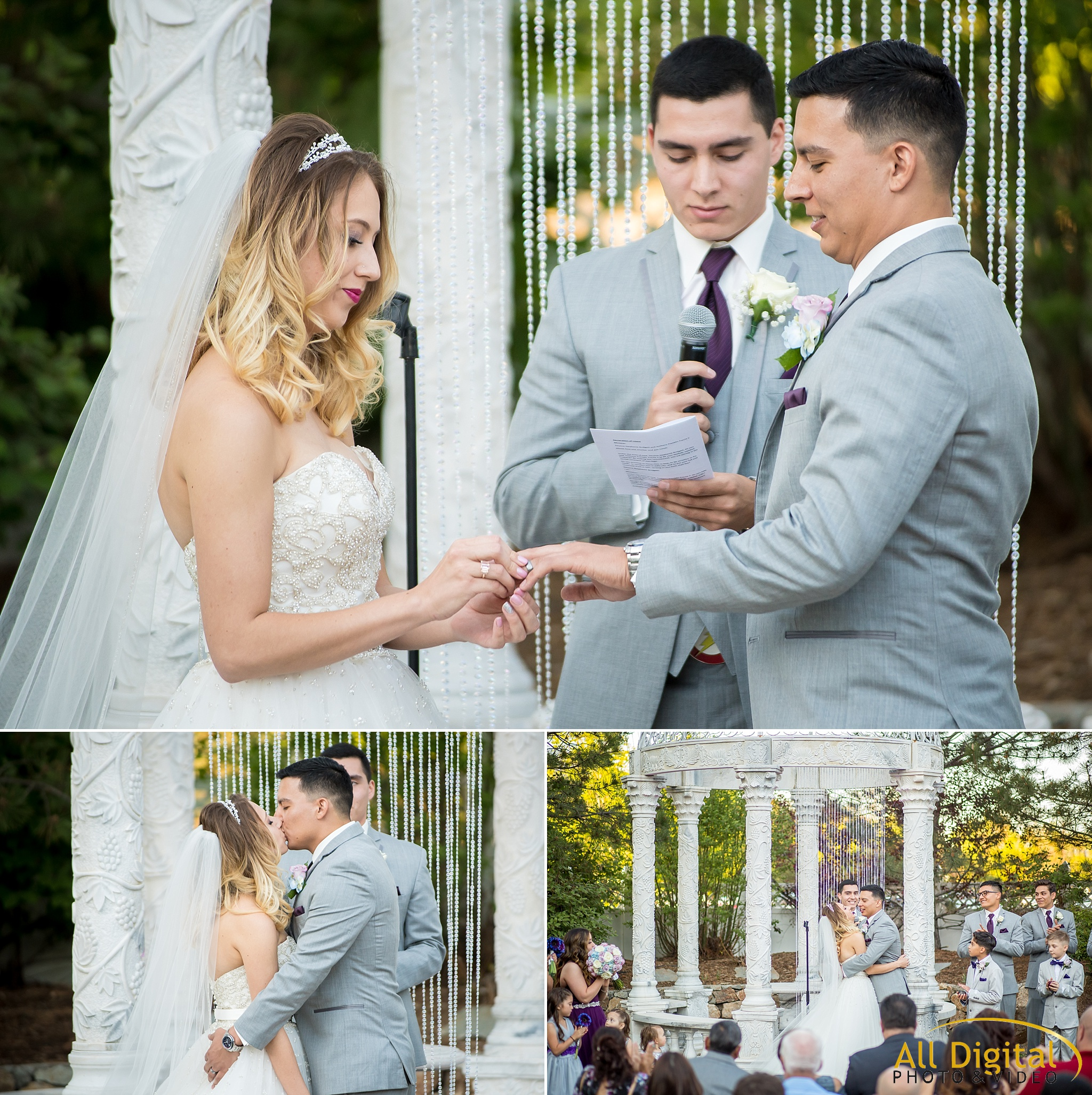 Exchanging rings and first kiss during the wedding ceremony at Stonebrook Manor.