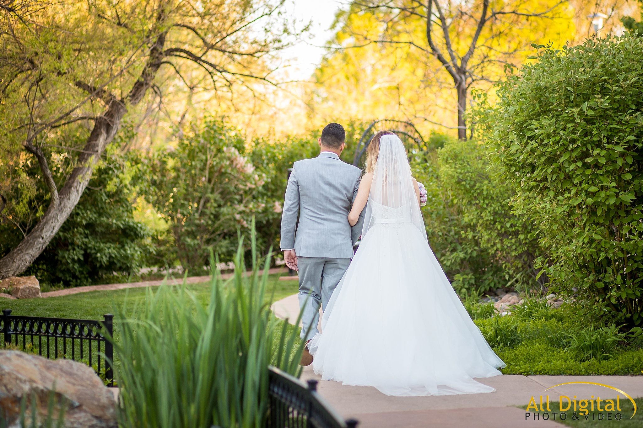 Bride and Groom walking back up the aisle at Stonebrook Manor.