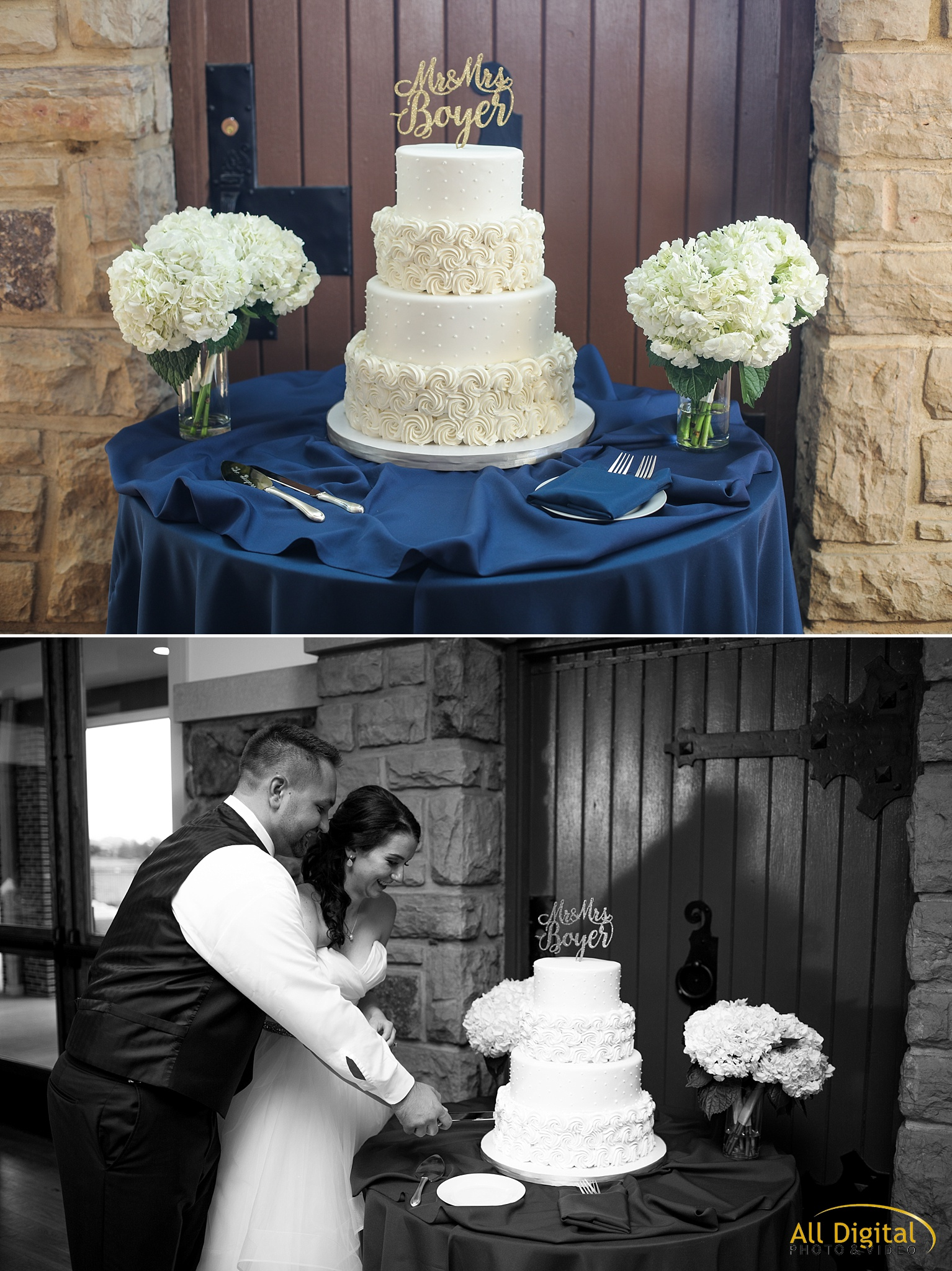 Bride & Groom cutting the cake at Highlands Ranch Mansion