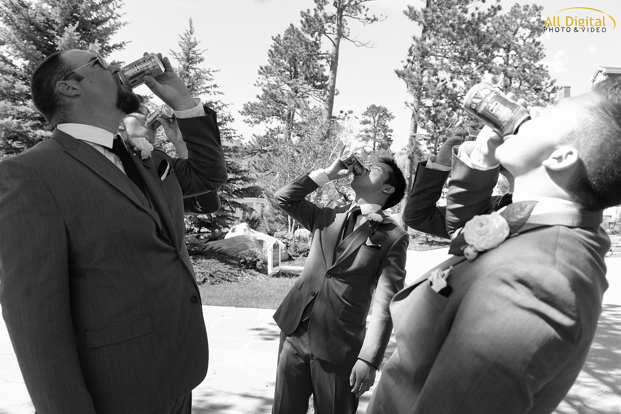 The guy's having a drink before the ceremony at the Stanley Hotel in Estes Park, Colorado