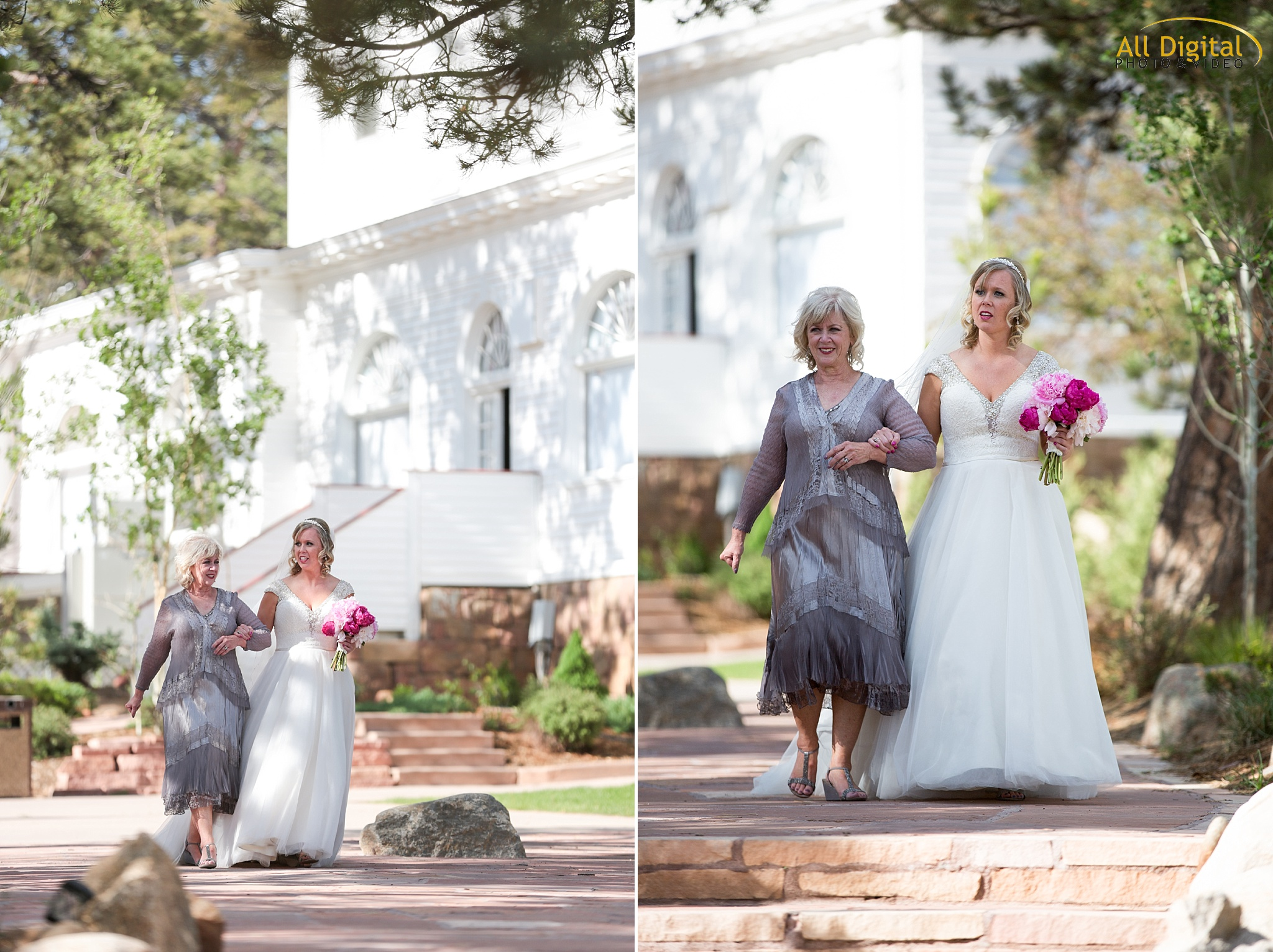 Alison walking down the aisle at the Stanley Hotel in Estes Park, Colorado