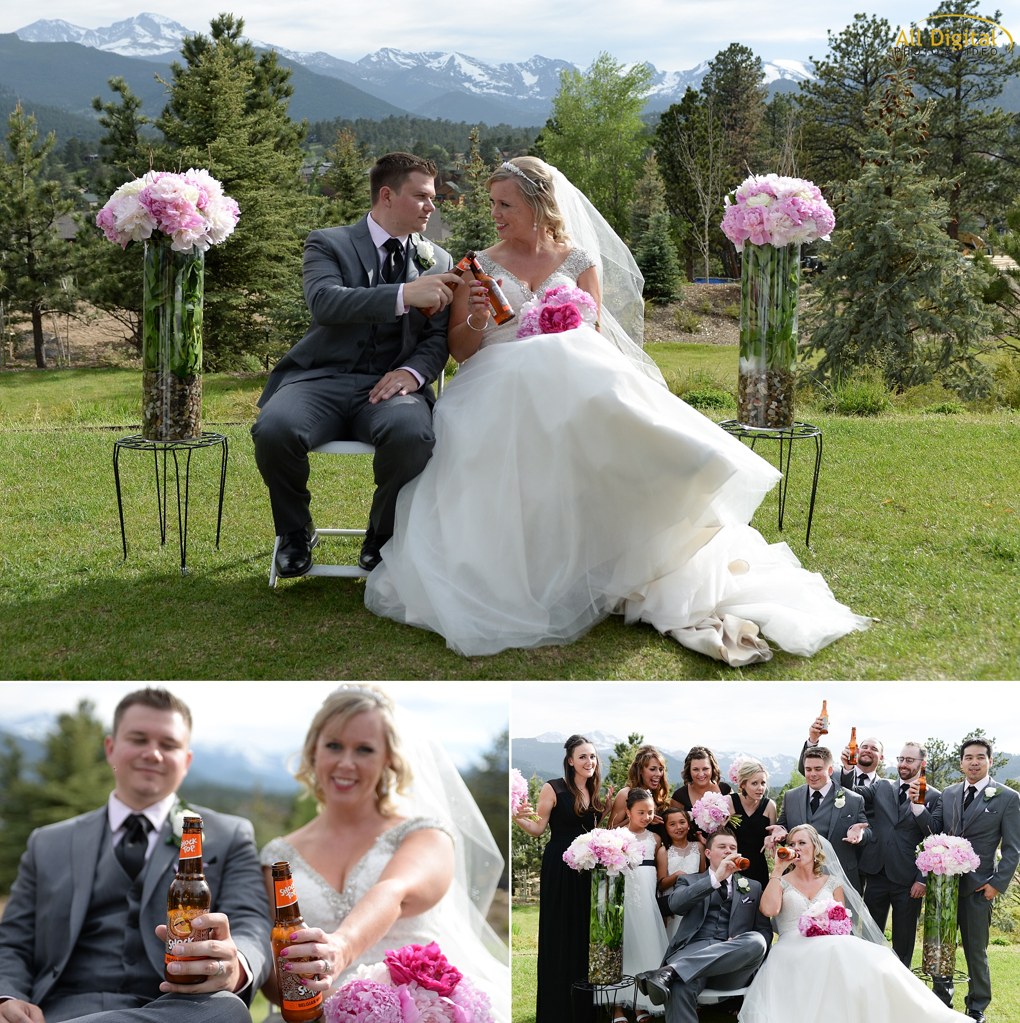 Alison & Brian enjoying a beer after their Wedding Ceremony at the Stanley Hotel in Estes Park, Colorado.