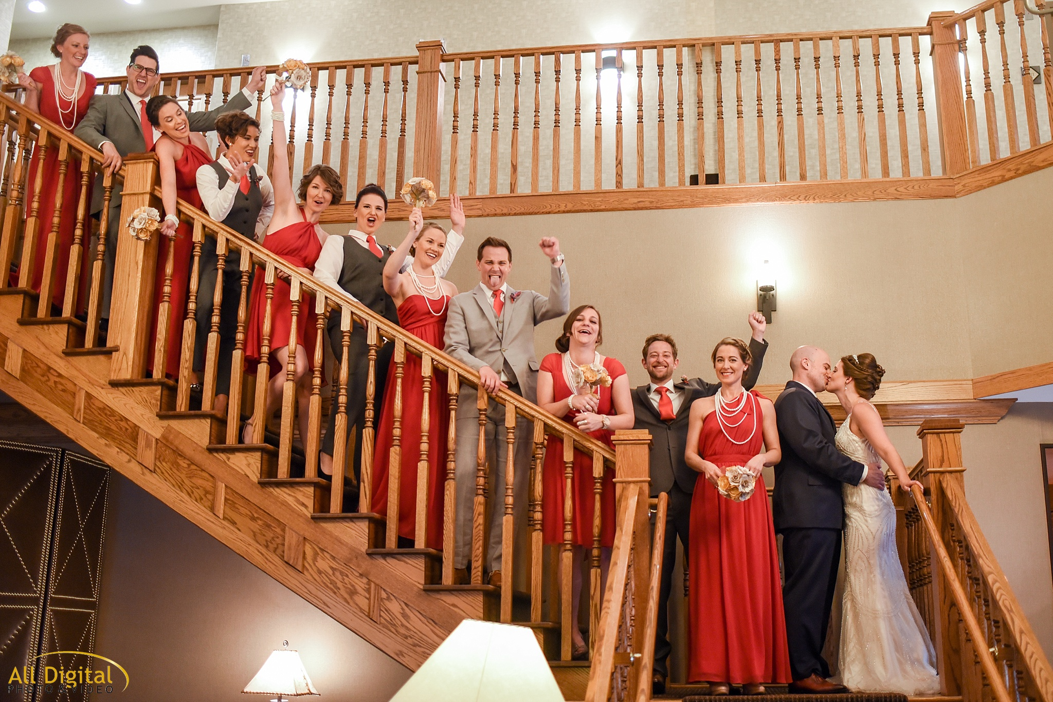 Bridal Party Photos in the lobby of the Golden Hotel photographed by All Digital Studios.