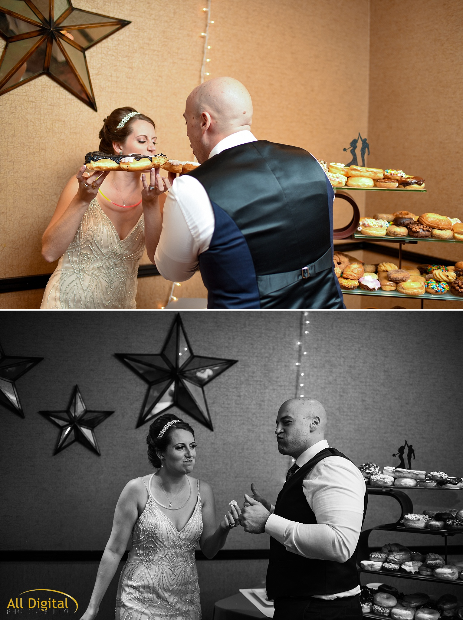 Mary & Jeremy having donuts instead of cake at the Golden Hotel photographed by All Digital Studios.