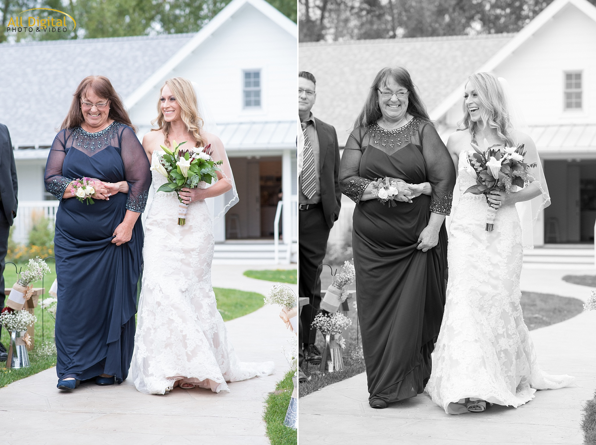 Tina & her mother walking down the aisle at Raccoon Creek.