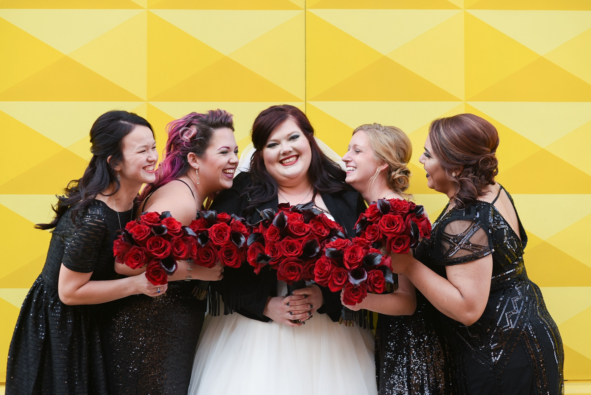 Alecia & Nick's Rock 'N Roll Themed Wedding at The Studios at Overland Crossing, The Studios at Overland Crossing, The Studios, Overland Crossing, Denver Wedding Photographer, Denver Wedding, Downtown Denver Wedding, Yellow Wall, Rock N Roll Wedding, Rock Wedding, Bridesmaids Portraits, Bridesmaids, Bride, Yellow Wall Downtown Denver, Curtis Hotel Yellow Wall
