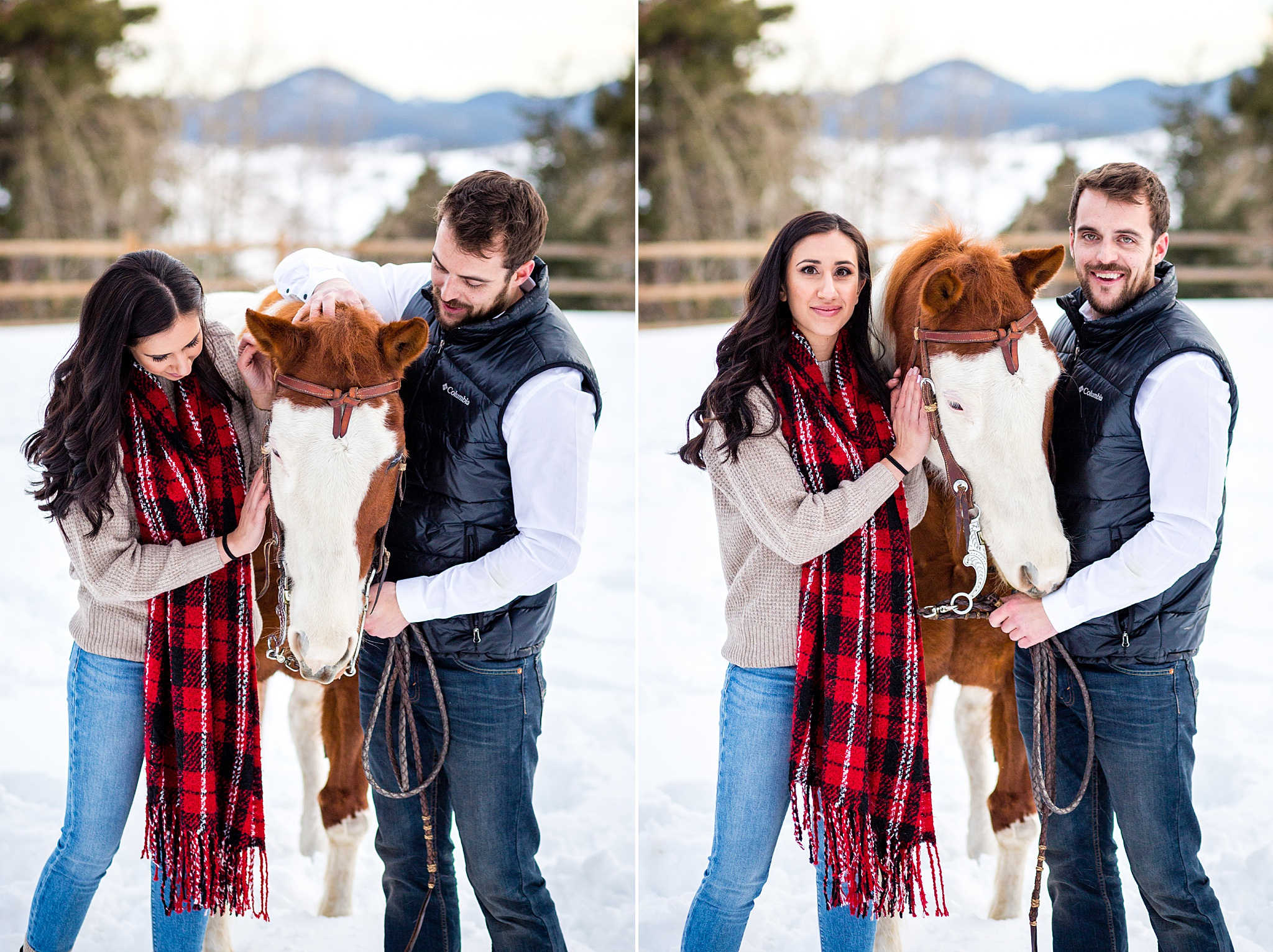 Matt & Michelle's Morrison Ranch Engagement Session with Horses & Dog. Colorado Engagement Photography by All Digital Photo & Video. Morrison Engagement Photography, Horse Engagement Session, Ranch Engagement Session, Colorado Engagement Photos, Mountain Engagement Photos, Winter Engagement Photos, Snowy Engagement Photos, Mountain Engagement Photography, Denver Engagement Photography, Rocky Mountain Engagement