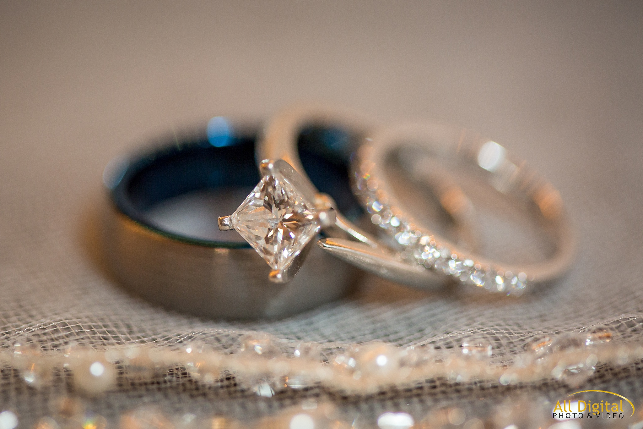 Closeup of the wedding rings at Stonebrook Manor