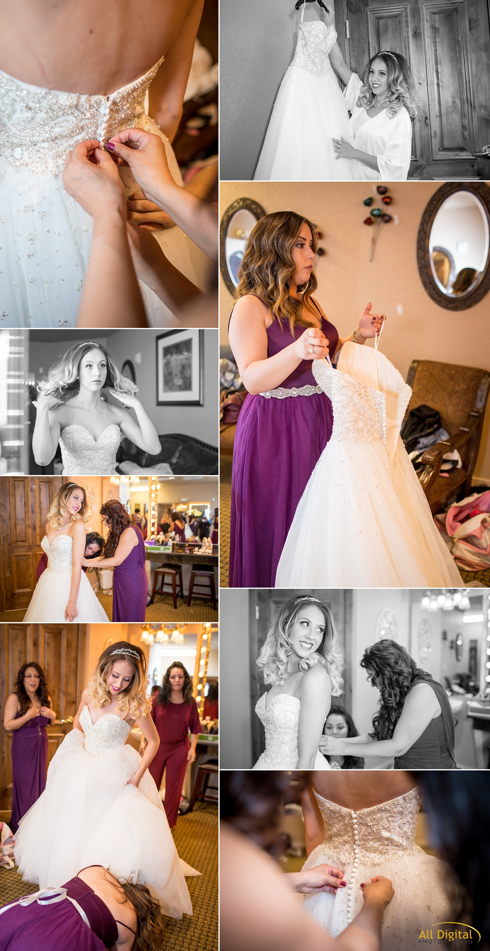 Getting into the dress at Stonebrook Manor.