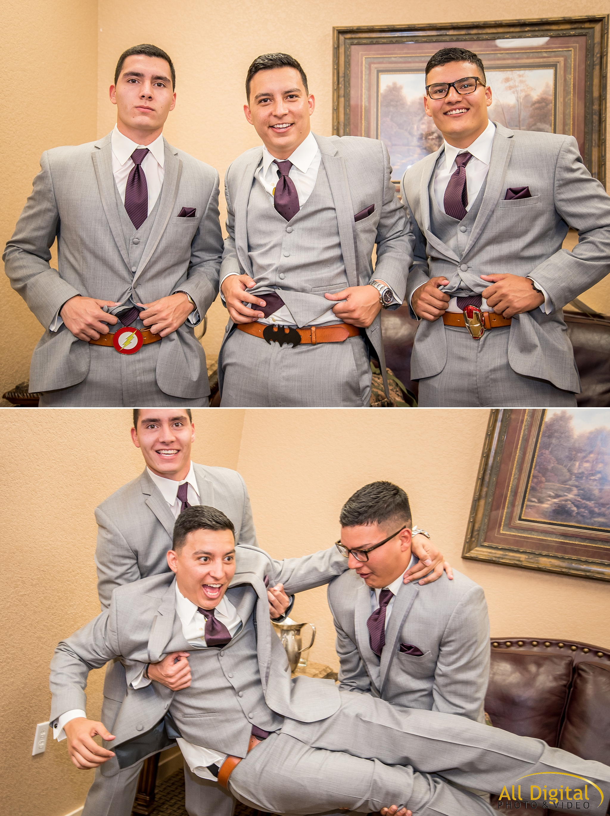 Groomsmen showing off their super hero skills.