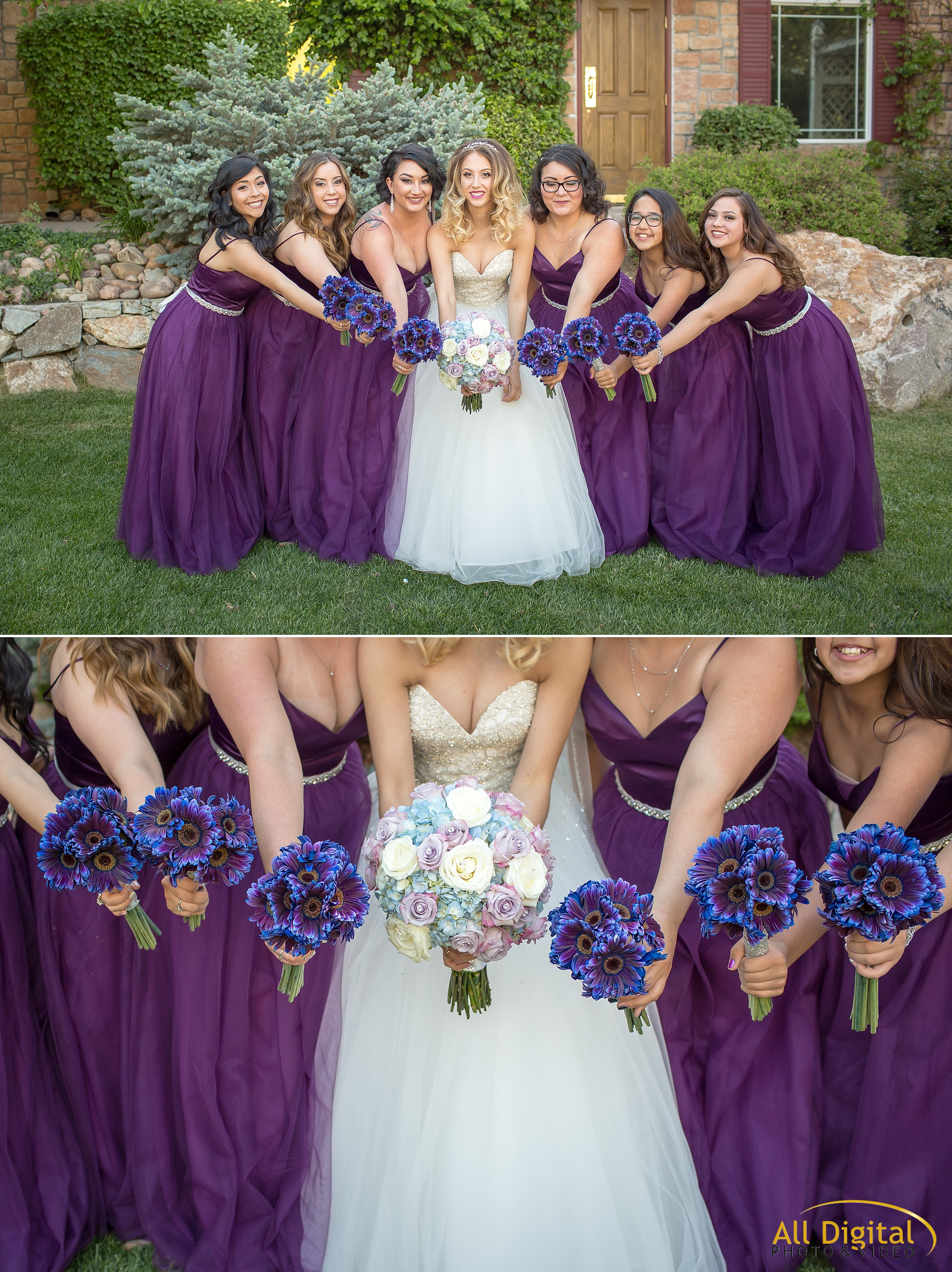 Fun bride and bridesmaid portraits at Stonebrook Manor.