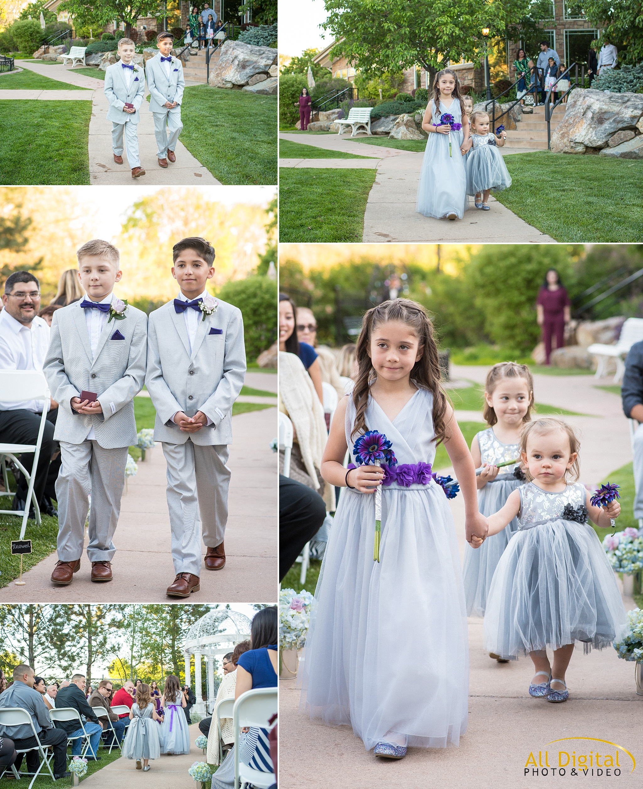 Flower girls and Ring Bearers walking down the aisle at Stonebrook Manor.