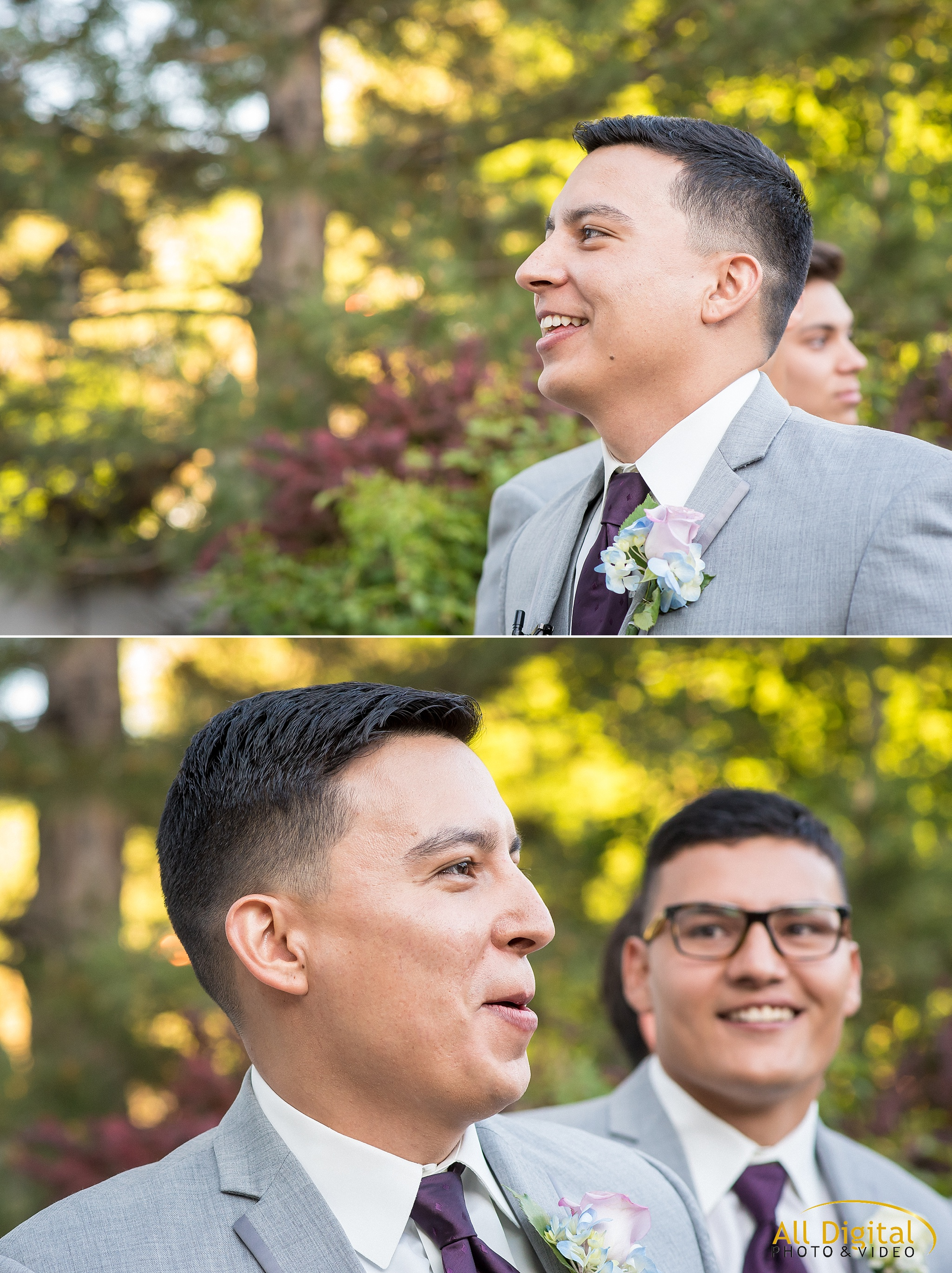 Groom seeing his bride for the first time at Stonebrook Manor.