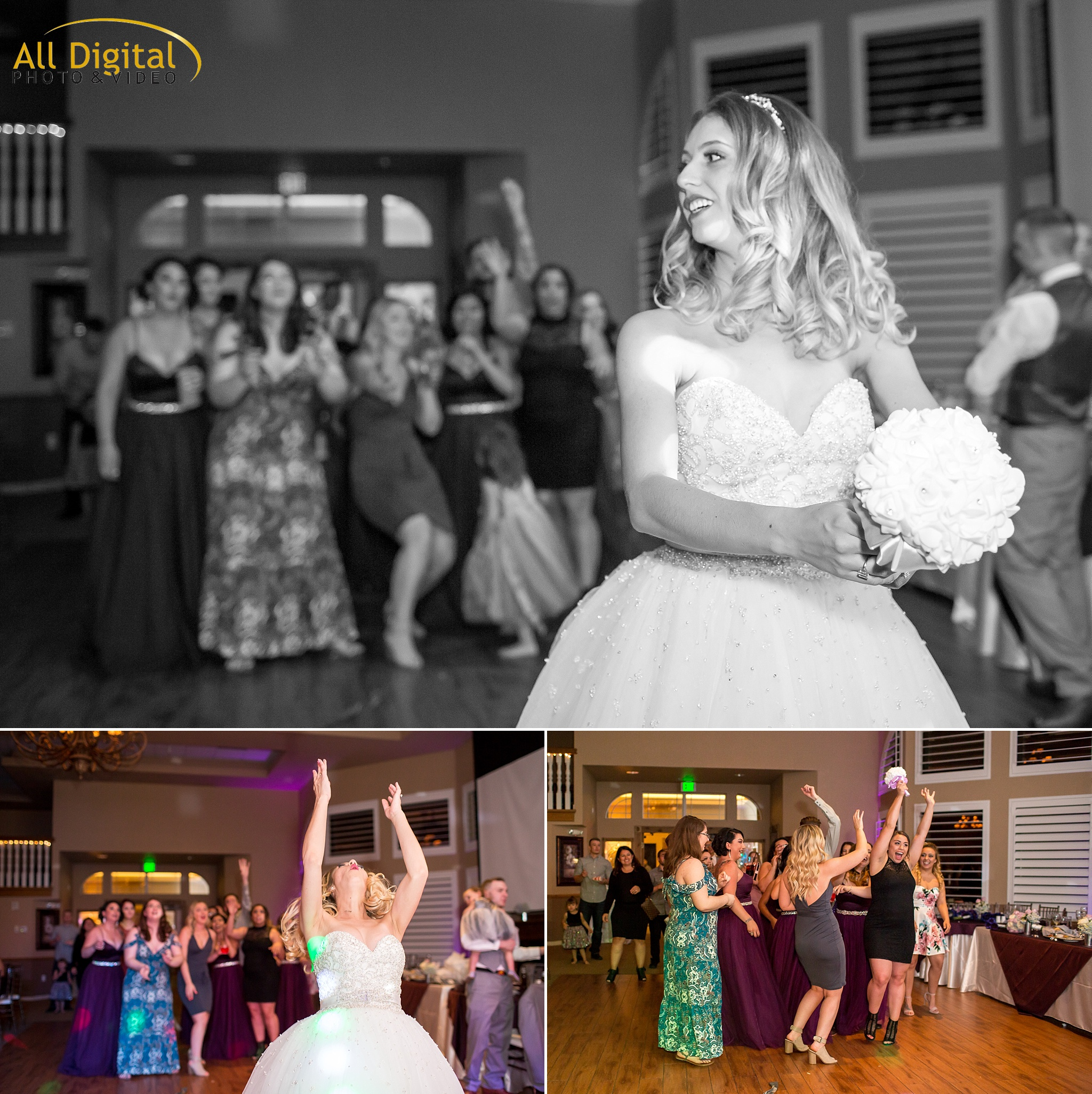Bride bouquet toss at Stonebrook Manor.