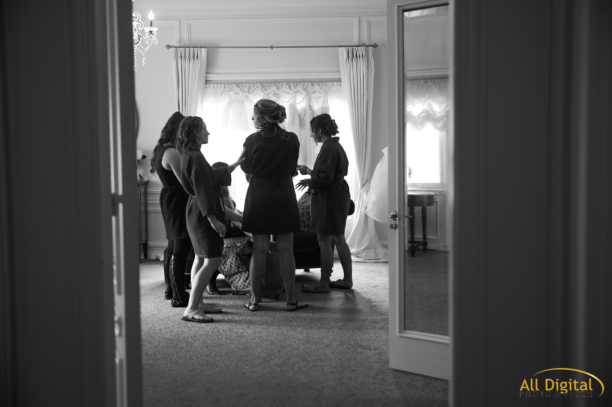 Bridesmaids getting ready at the Highlands Ranch Mansion
