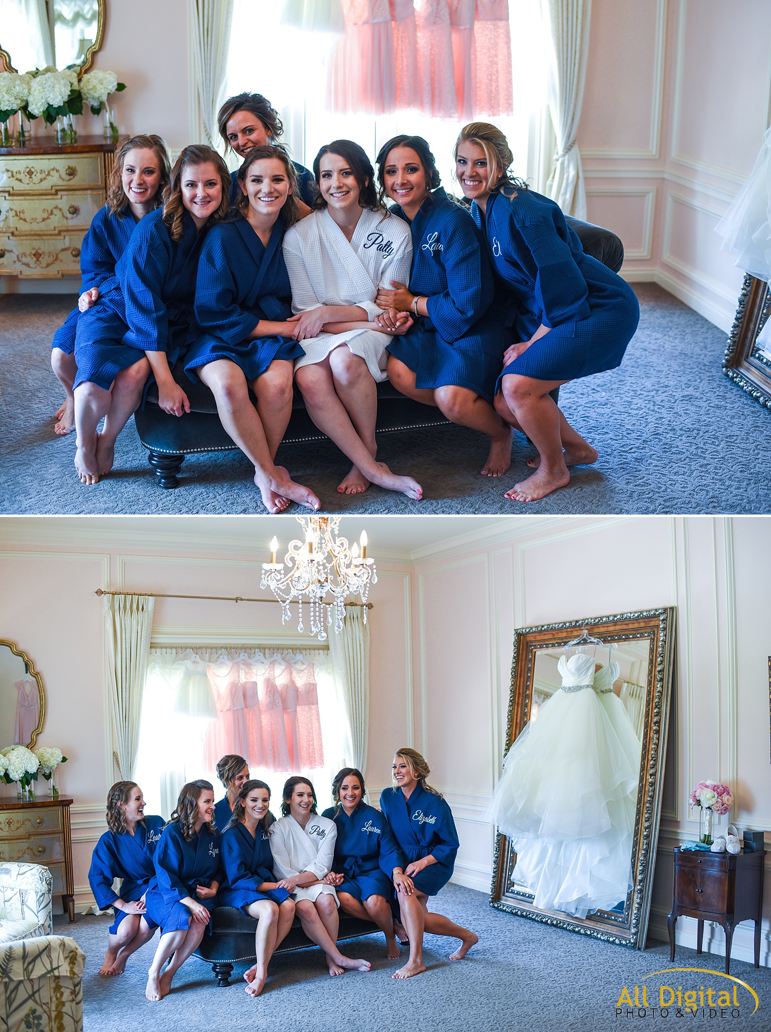 Bride & Bridesmaids getting ready at the Highlands Ranch Mansion