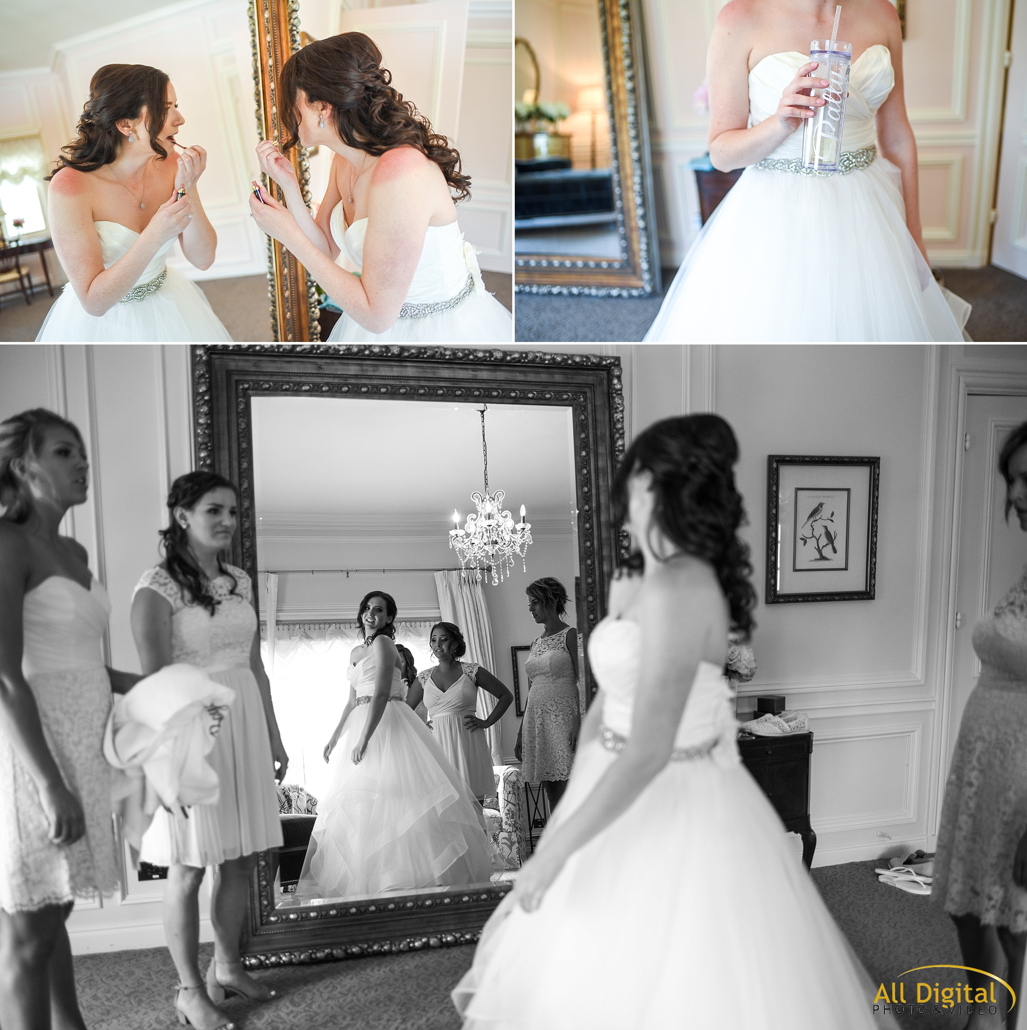 Bride getting ready at the Highlands Ranch Mansion.