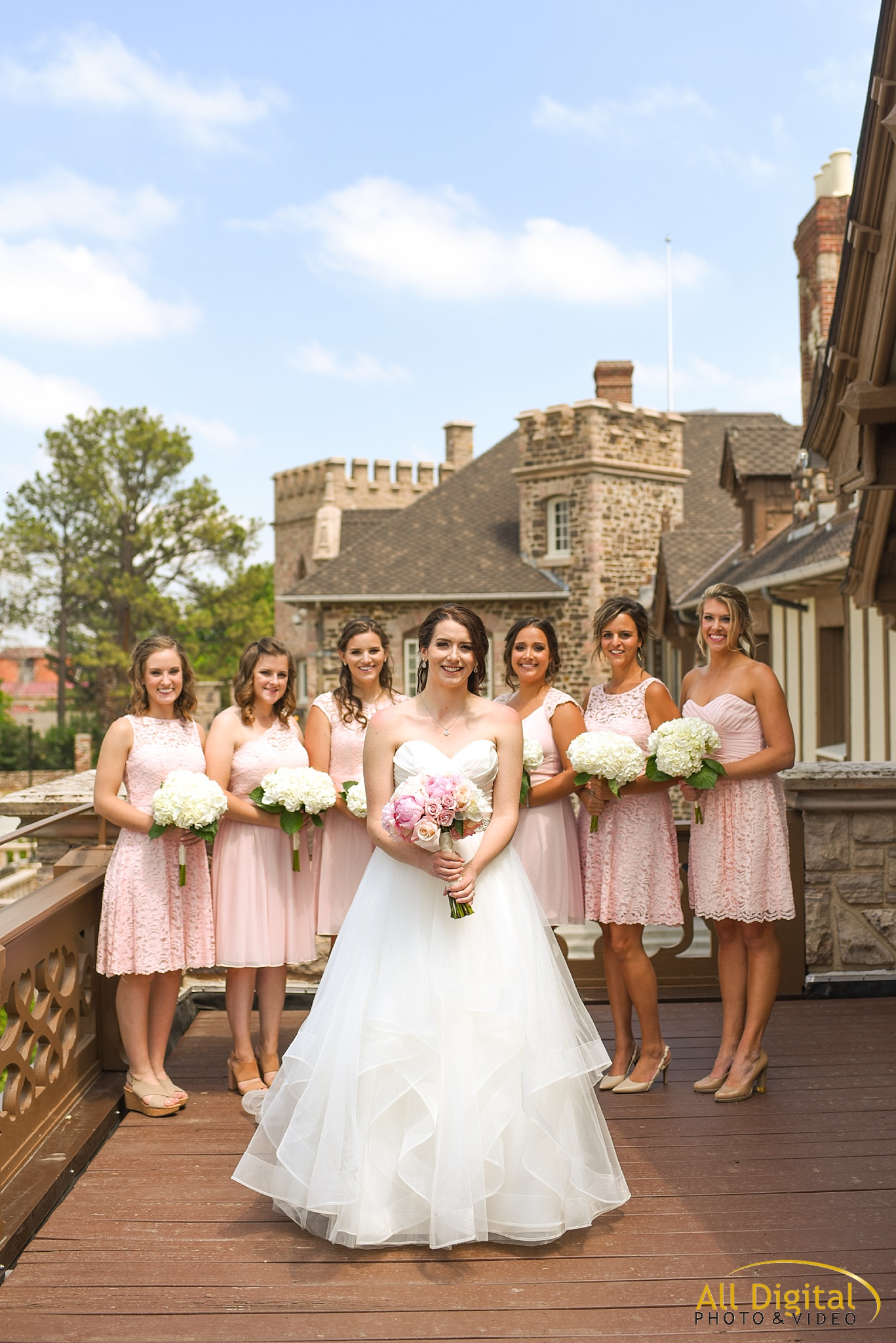 Bride & Bridesmaids Photos on the terrace of Highlands Ranch Mansion