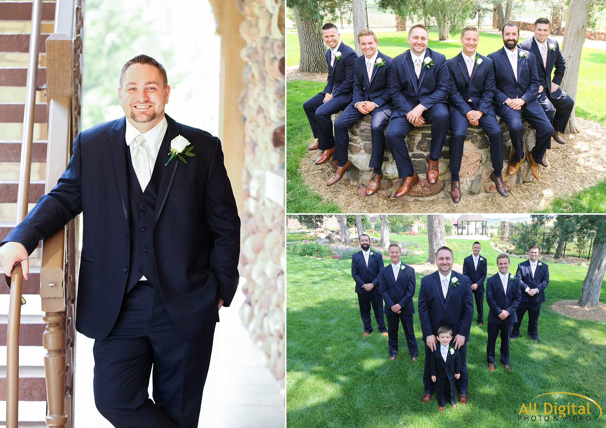 Groom & Groomsmen Photos at Highlands Ranch Mansion