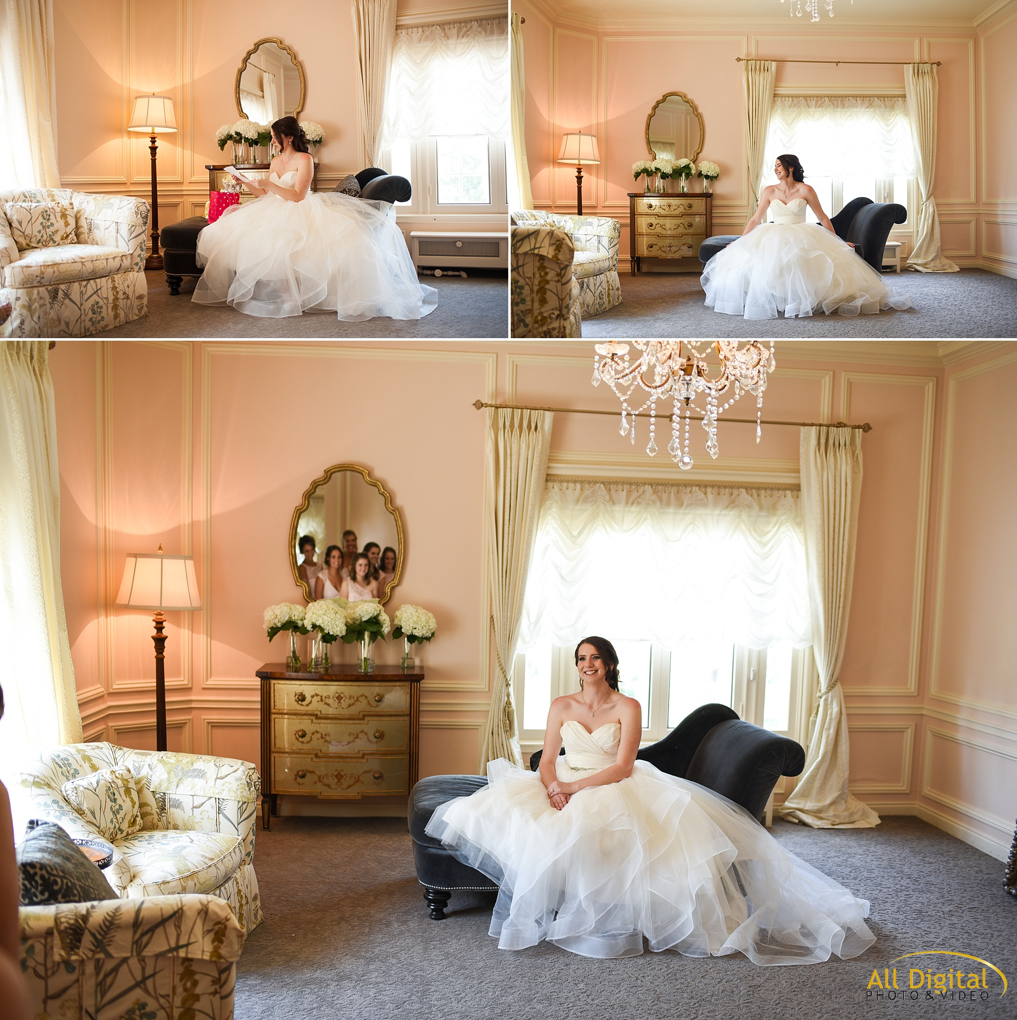 Bridal Portraits in Bridal Suite at Highlands Ranch Mansion
