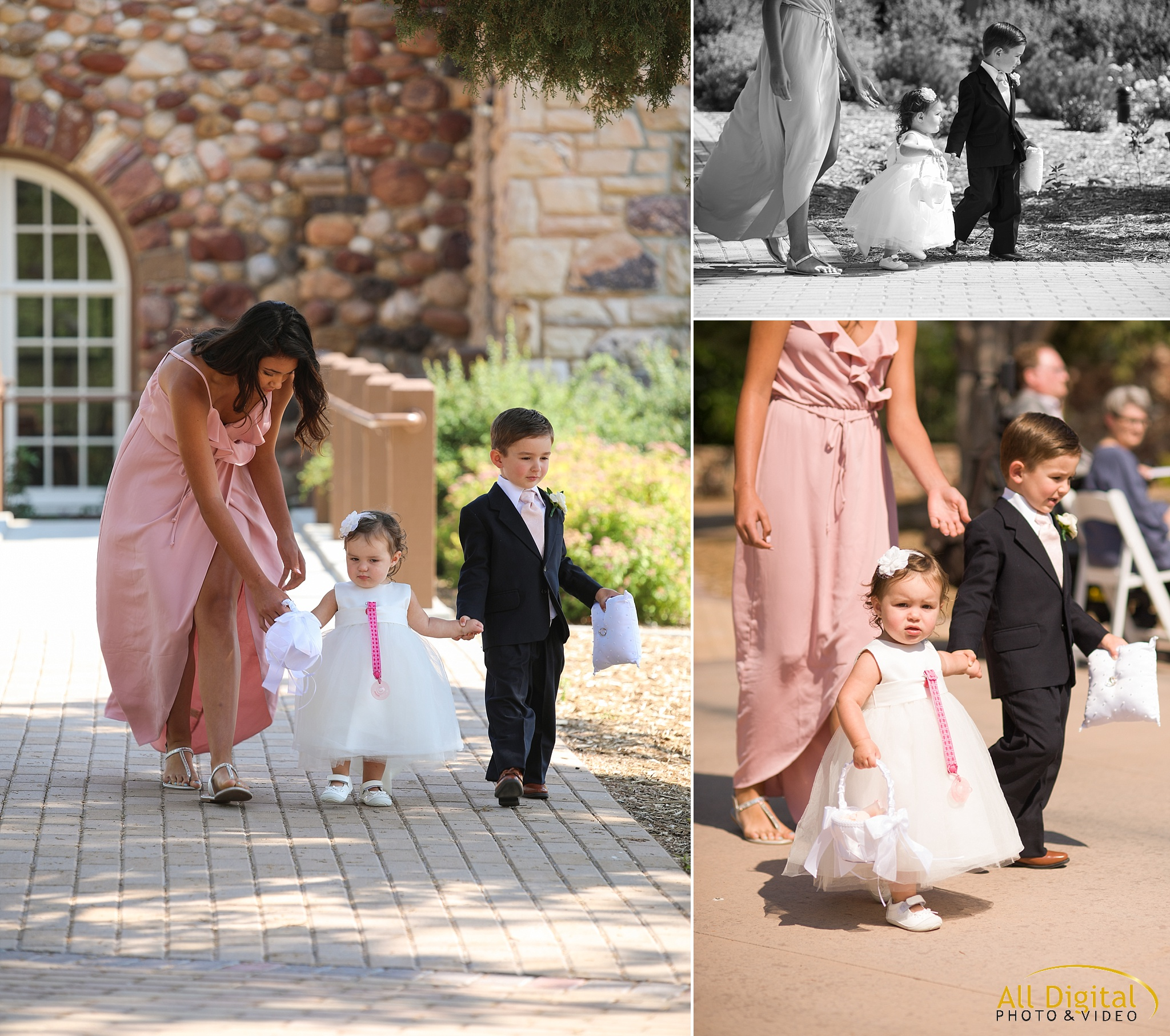 Flower Girl & Ring Bearer walking down the aisle at Highlands Ranch Mansion.
