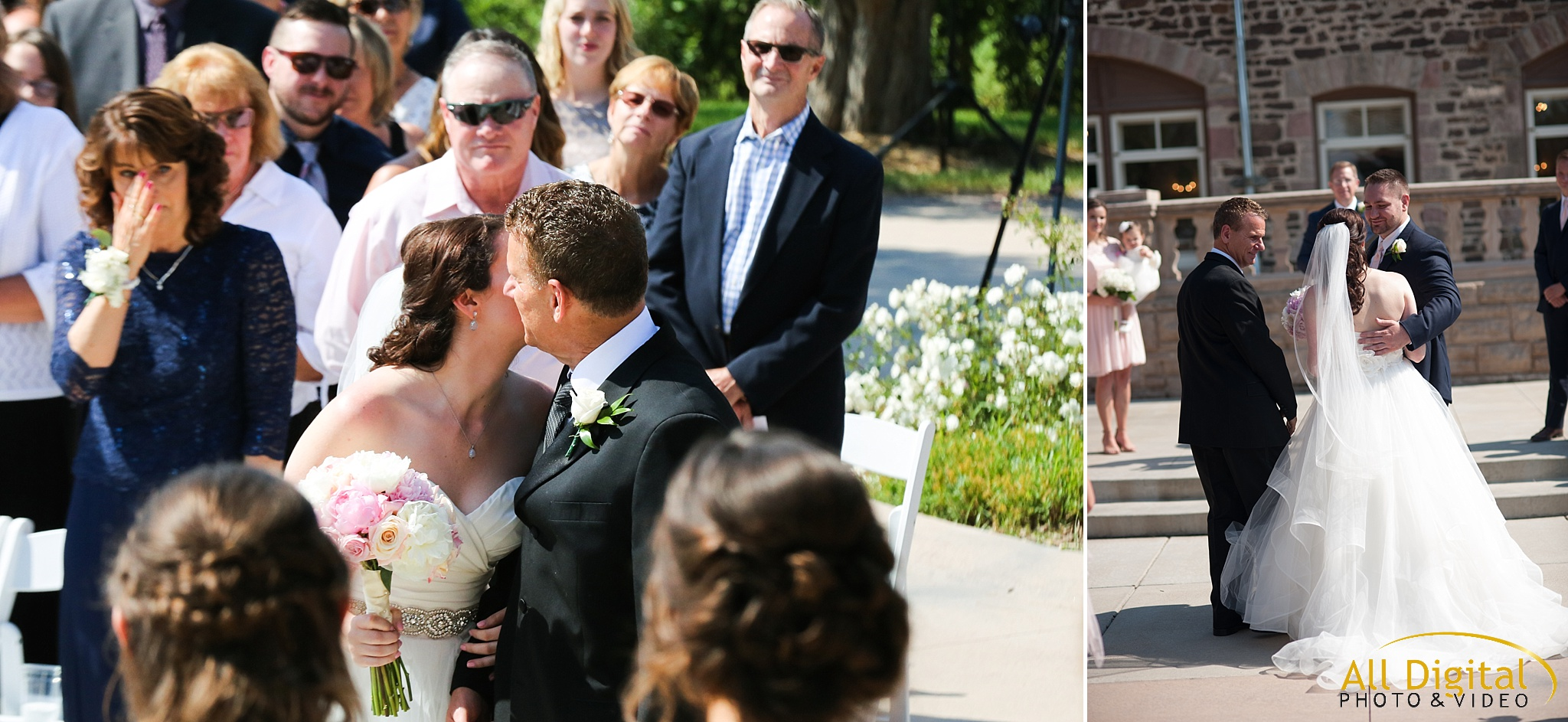 Father kissing the bride and giving her away at the Highlands Ranch Mansion.