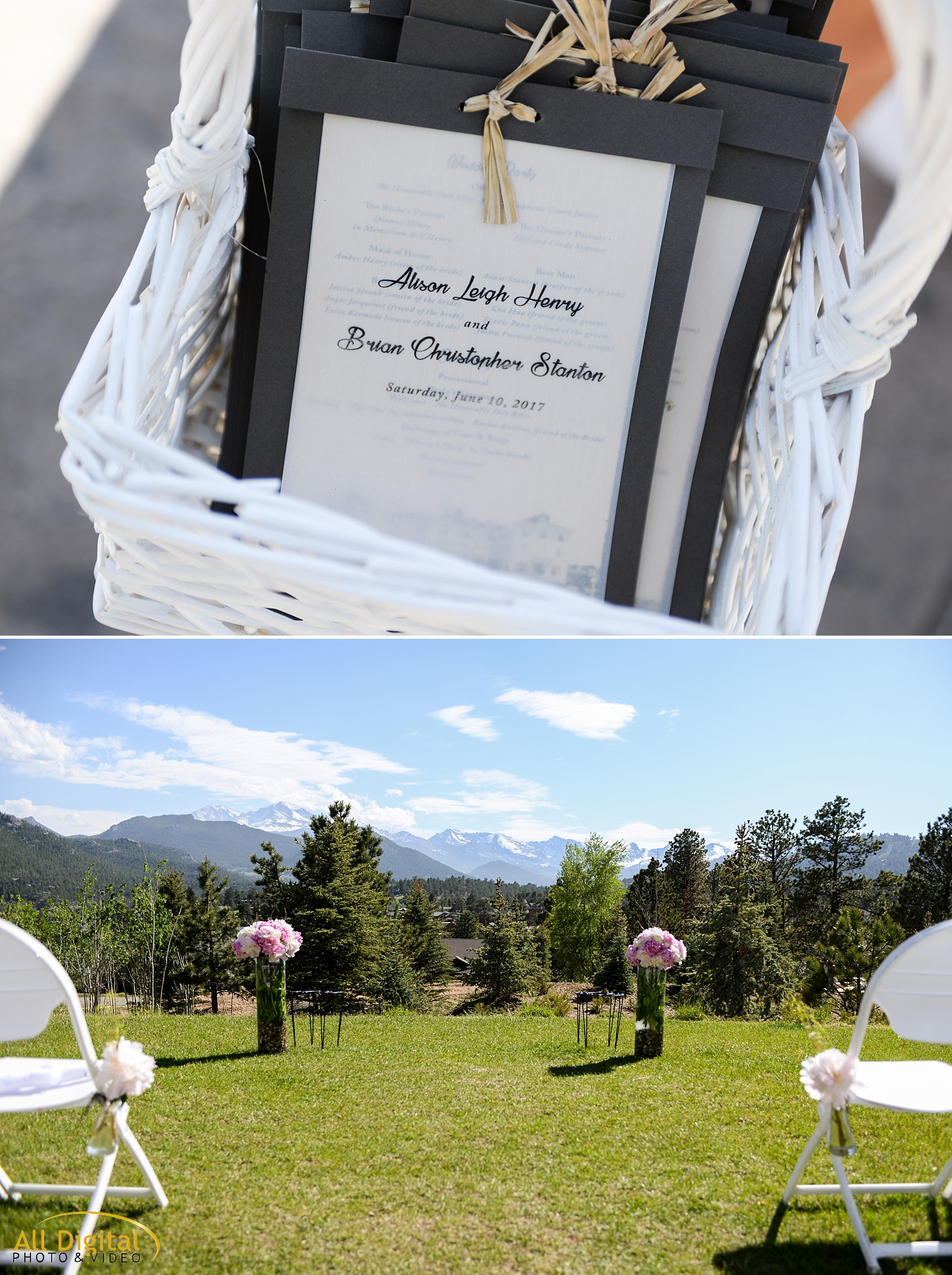 Wedding Ceremony Decor at the Stanley Hotel in Estes Park, Colorado