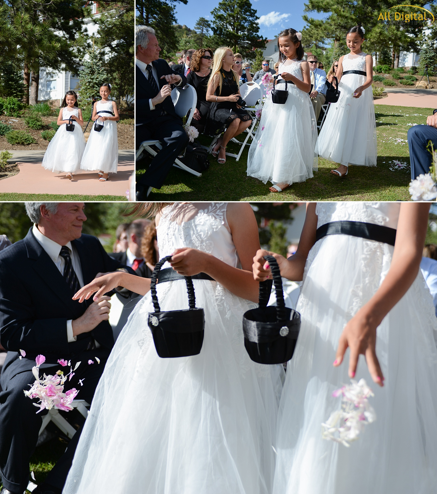 Flower Girls walking down the aisle at the Stanley Hotel in Estes Park, Colorado