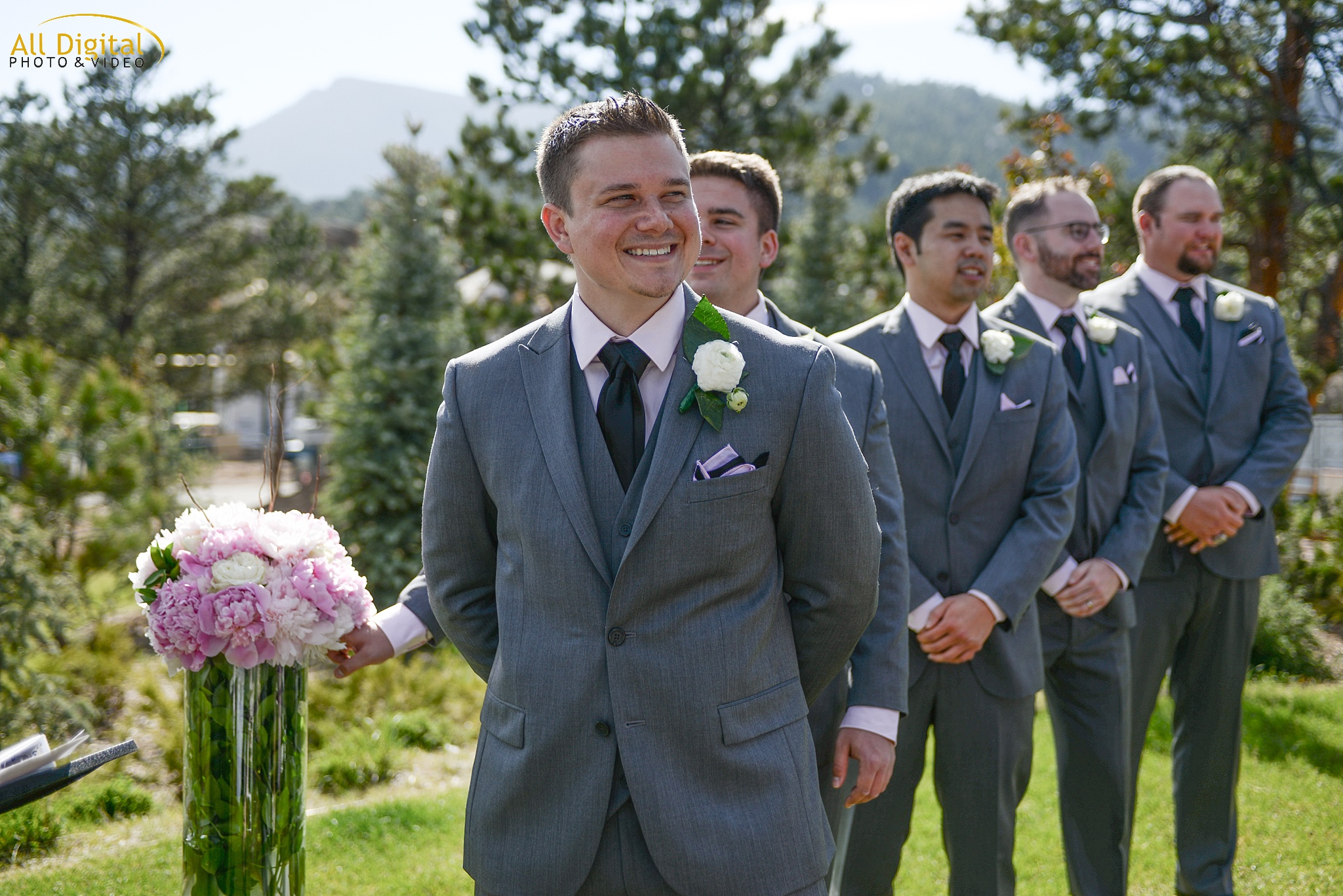 Brian watching Alison walk down the aisle at the Stanley Hotel in Estes Park, Colorado.