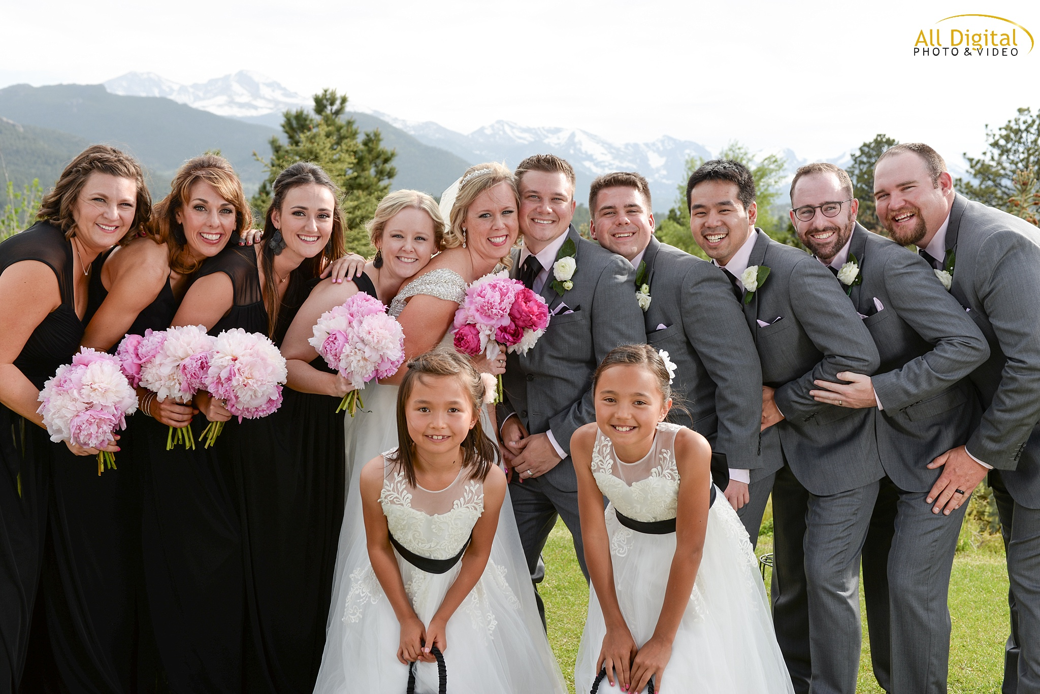Bridal Party portraits at the Stanley Hotel in Estes Park, Colorado