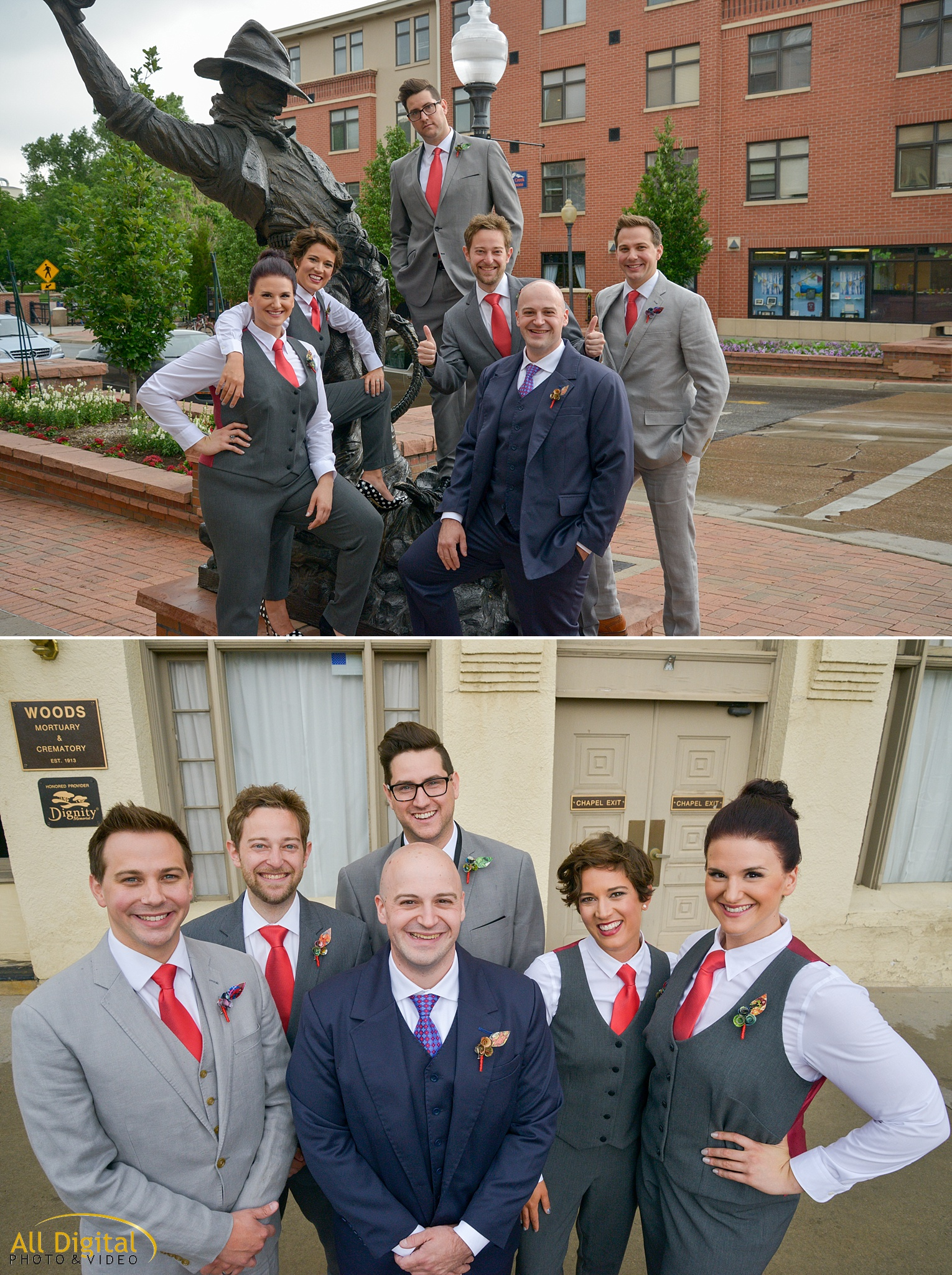 Jeremy & his groomsmen/groomswomen at the Golden Hotel photographed by All Digital Studios.