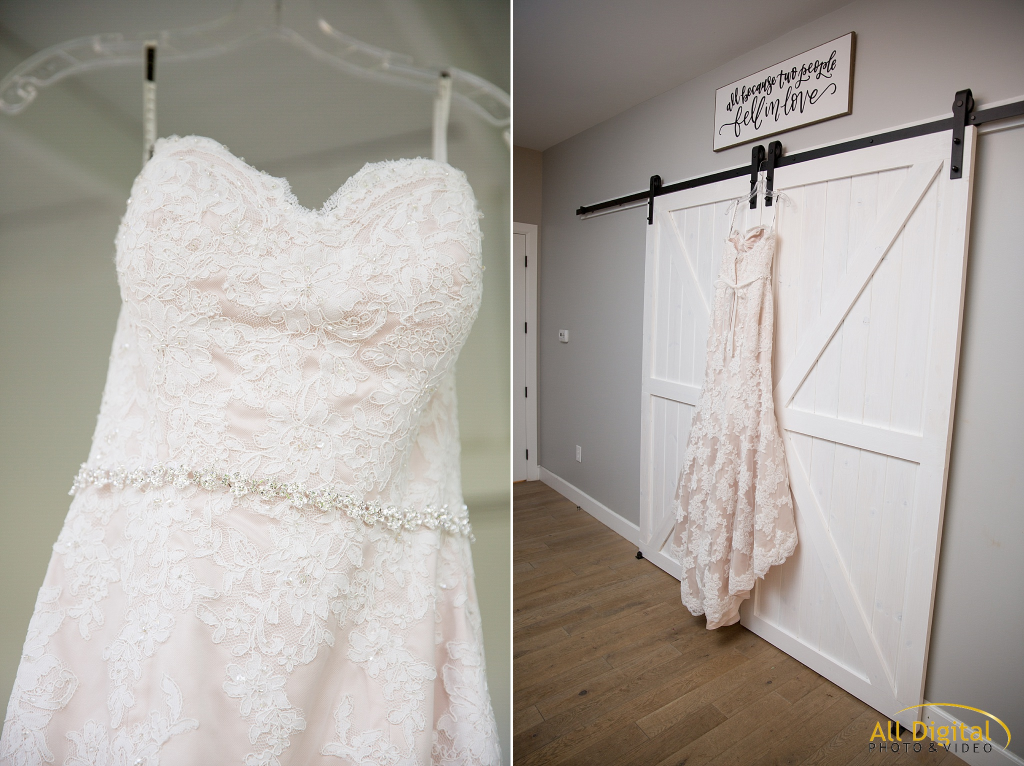 Tina's wedding dress hanging up in the dressing room at Raccoon Creek.