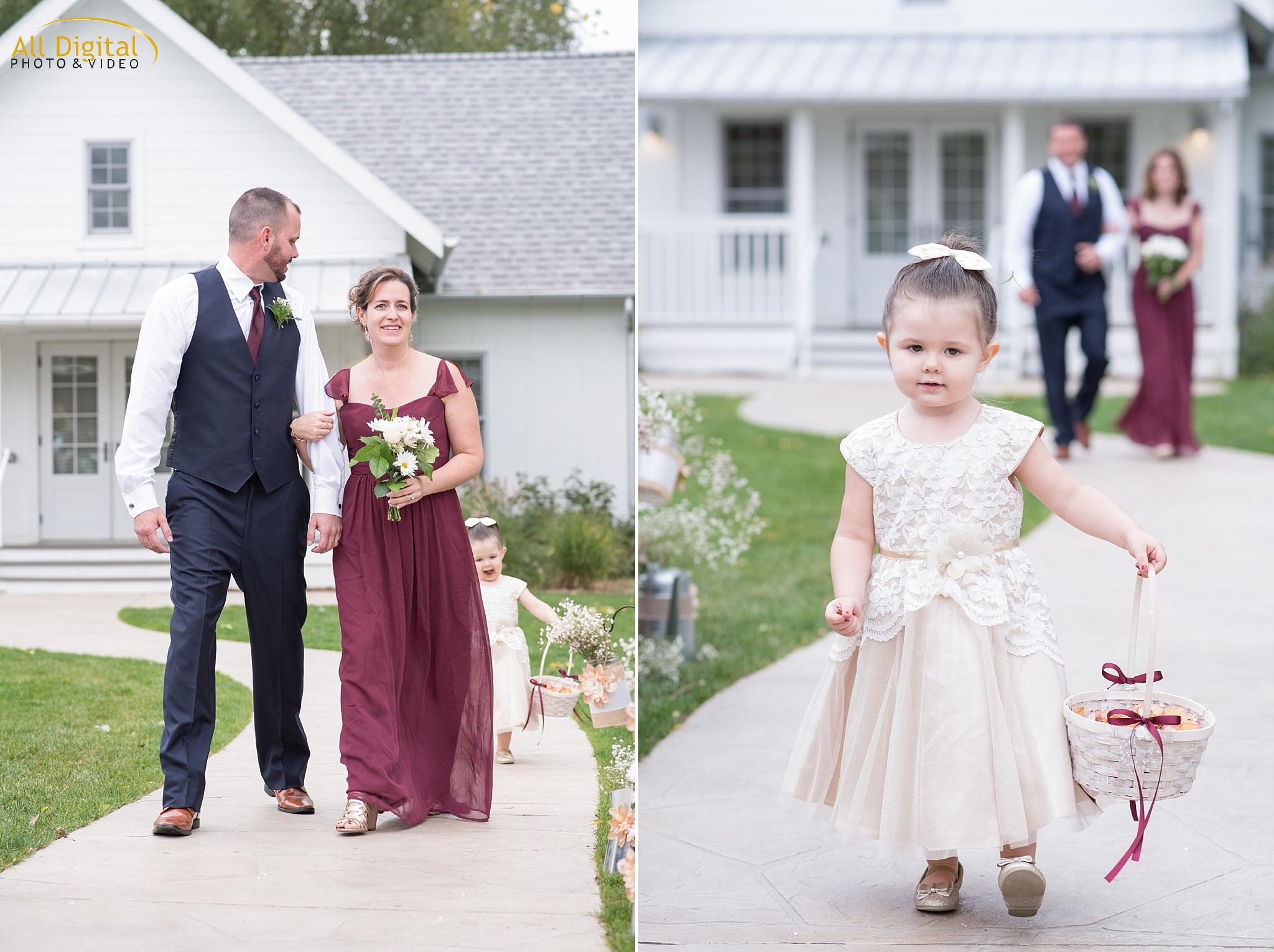 Bridal Party Walking Down the Aisle at Raccoon Creek.