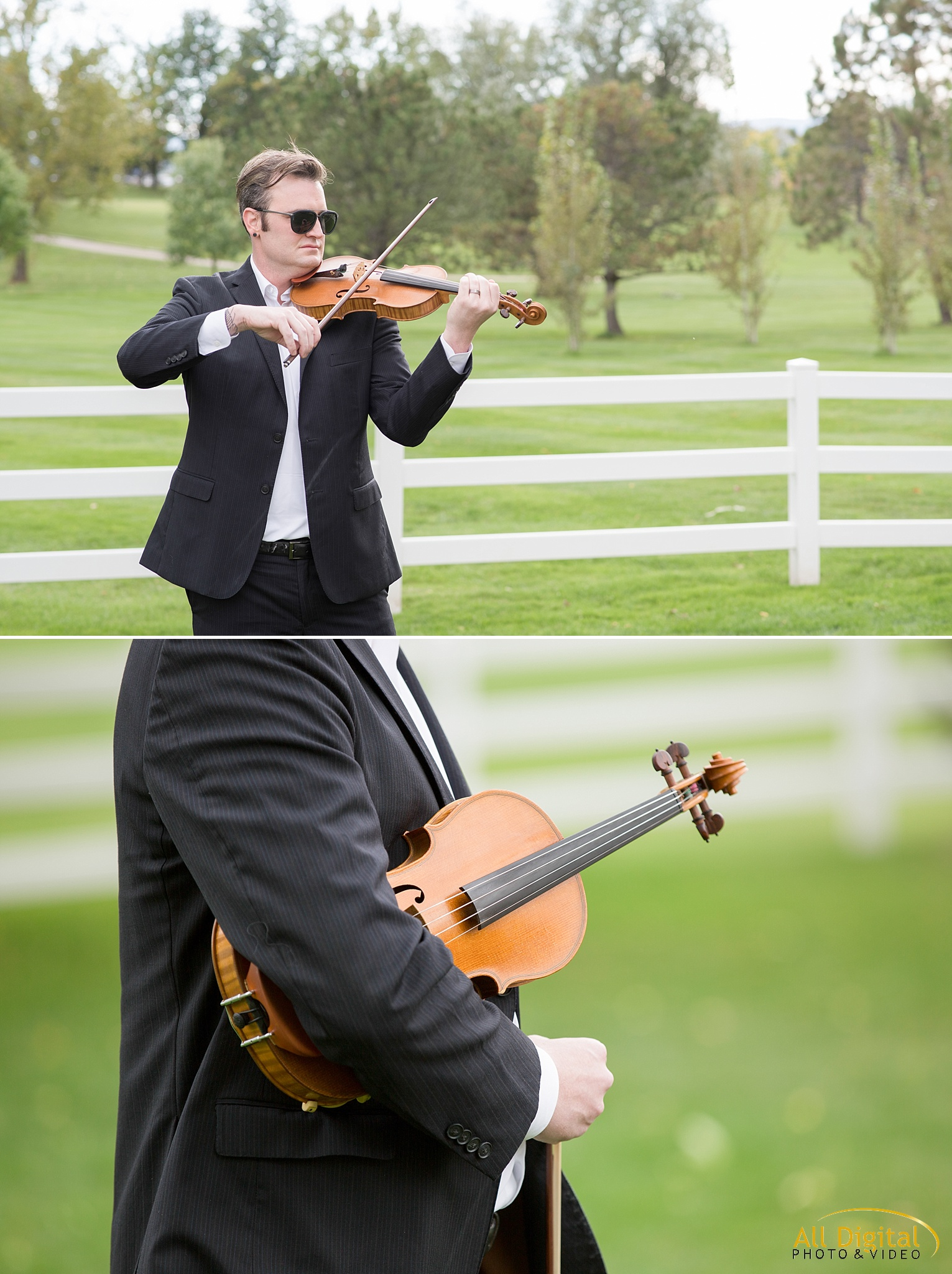 Violinist playing music for the ceremony at Raccoon Creek.