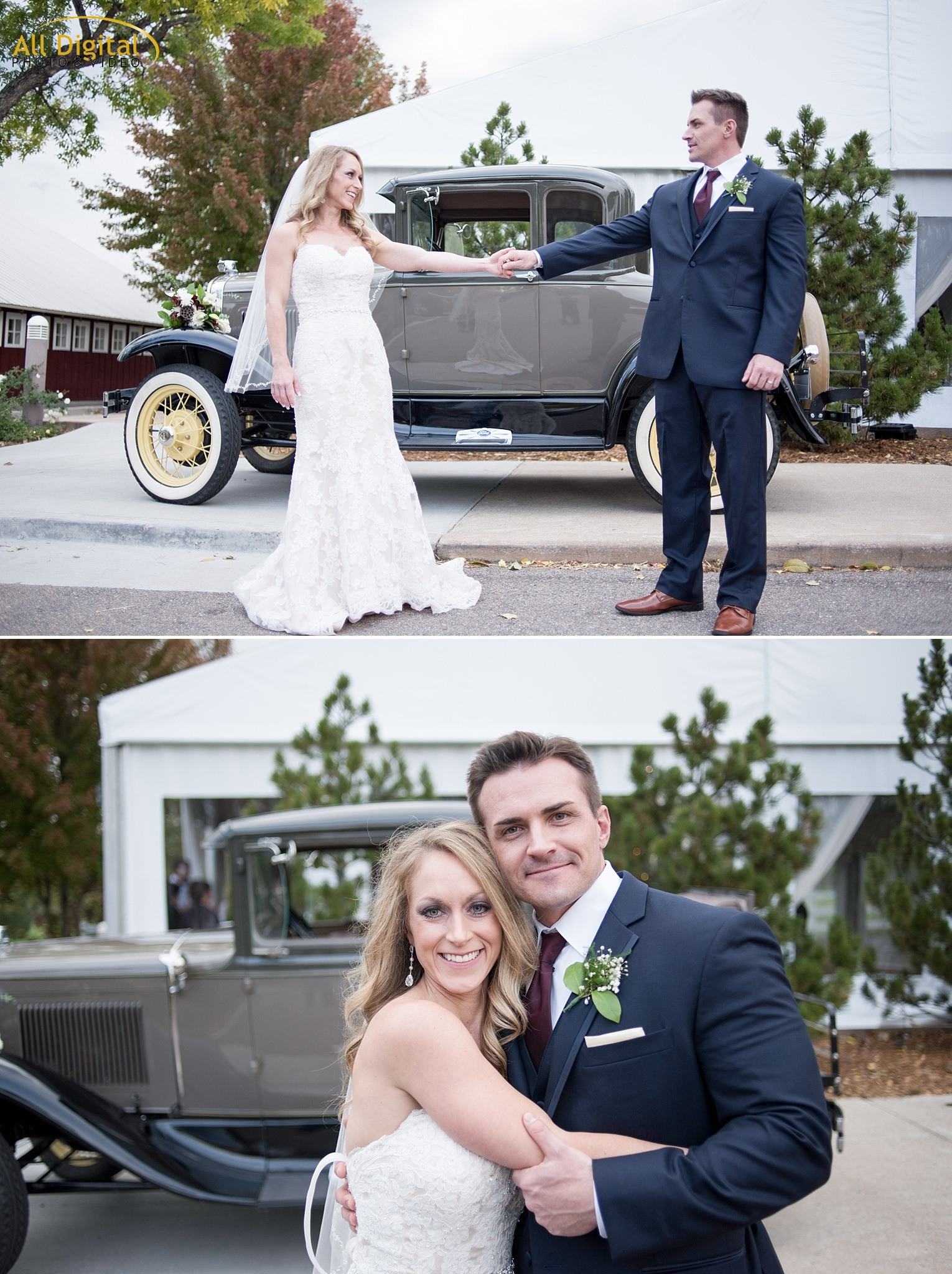 Tina & Nathan pose in front of a vintage car at Raccoon Creek