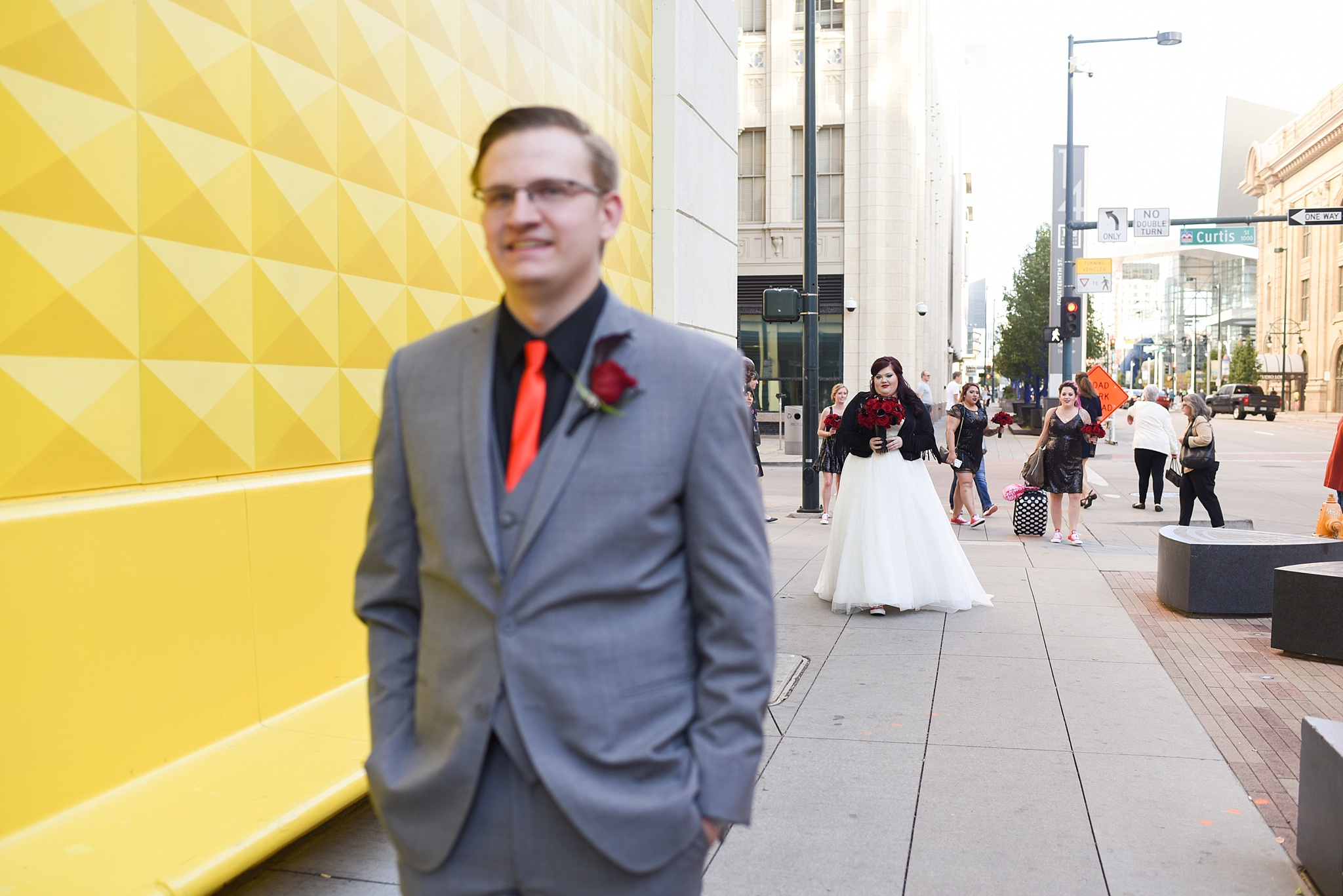 Alecia & Nick's Rock 'N Roll Themed Wedding at The Studios at Overland Crossing, The Studios at Overland Crossing, The Studios, Overland Crossing, Denver Wedding Photographer, Denver Wedding, Downtown Denver Wedding, Yellow Wall, Rock N Roll Wedding, Rock Wedding, First Look, Yellow Wall Downtown Denver, Curtis Hotel Yellow Wall