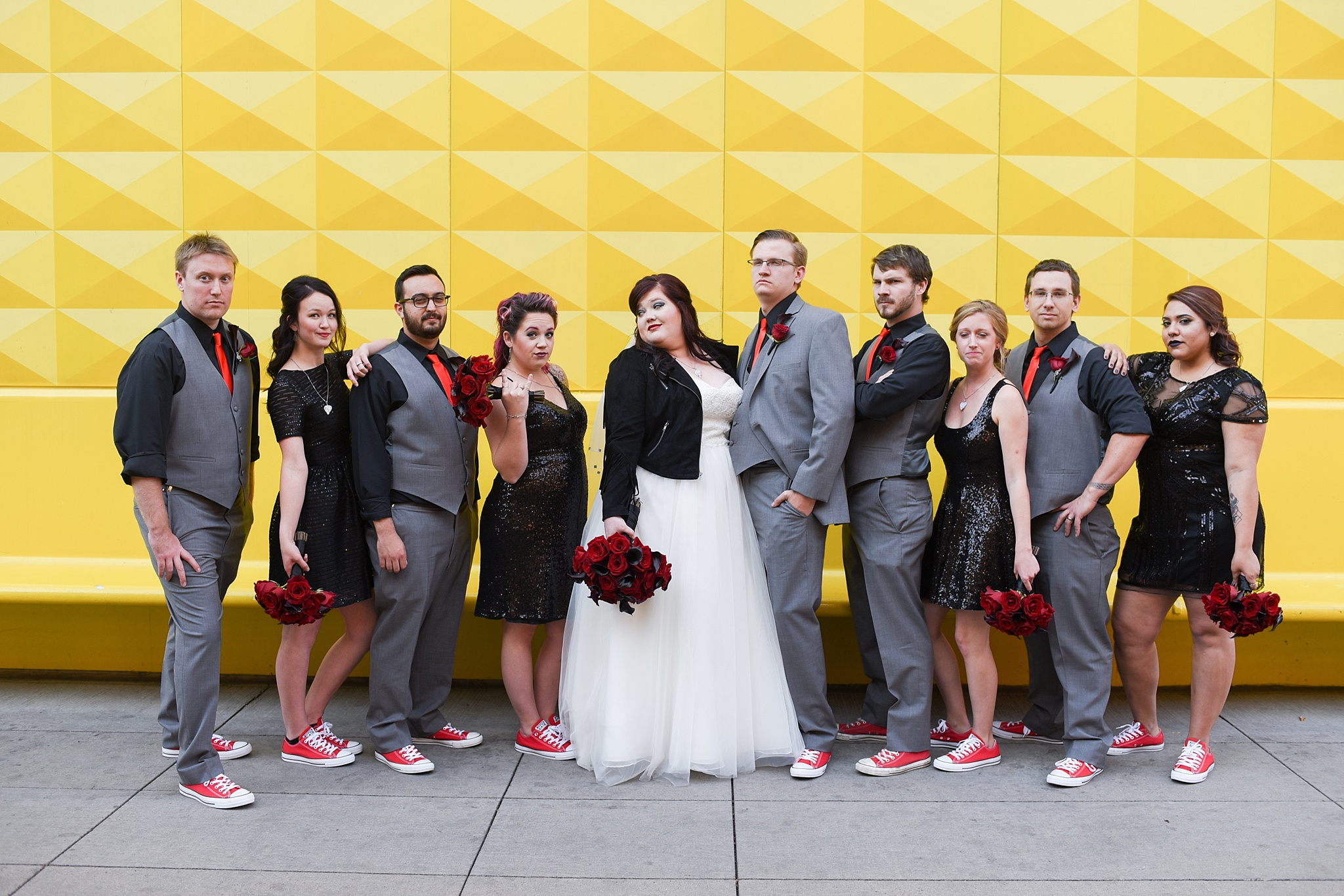 Alecia & Nick's Rock 'N Roll Themed Wedding at The Studios at Overland Crossing, The Studios at Overland Crossing, The Studios, Overland Crossing, Denver Wedding Photographer, Denver Wedding, Downtown Denver Wedding, Yellow Wall, Rock N Roll Wedding, Rock Wedding, Bridal Party Portraits, Bridal Party Photos, Bridal Party, Yellow Wall Downtown Denver, Curtis Hotel Yellow Wall